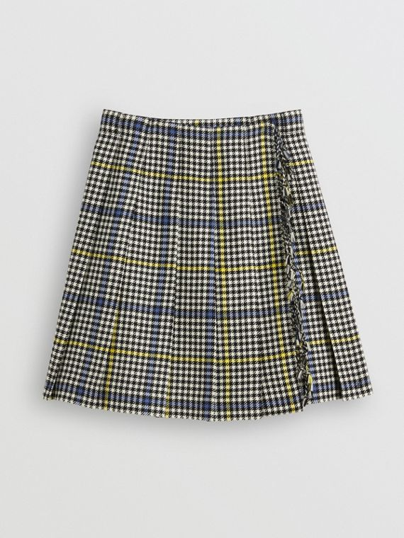 Fringe Detail Houndstooth Check Wool Kilt in Parchment