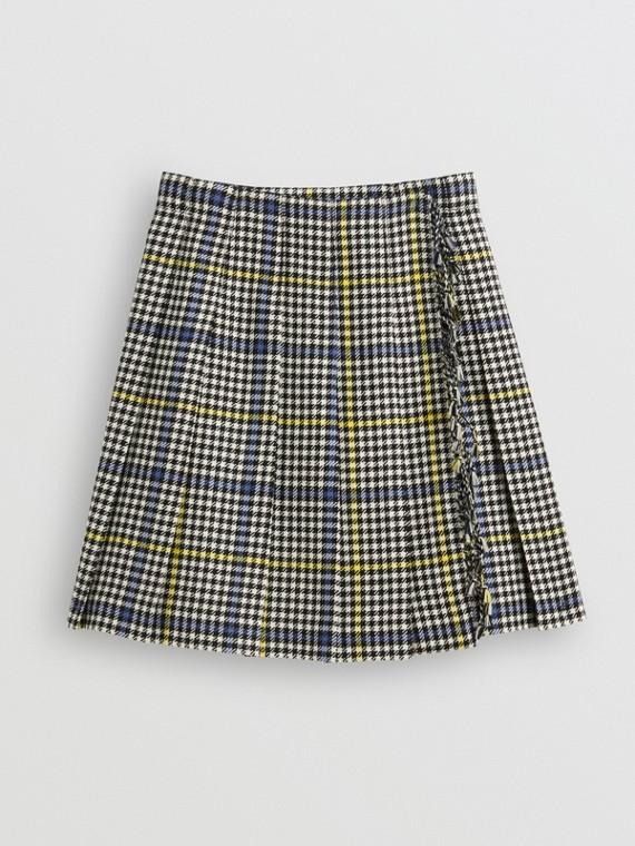 Saia estilo kilt de lã xadrez em pied-de-coq com franjas (Pergaminho)