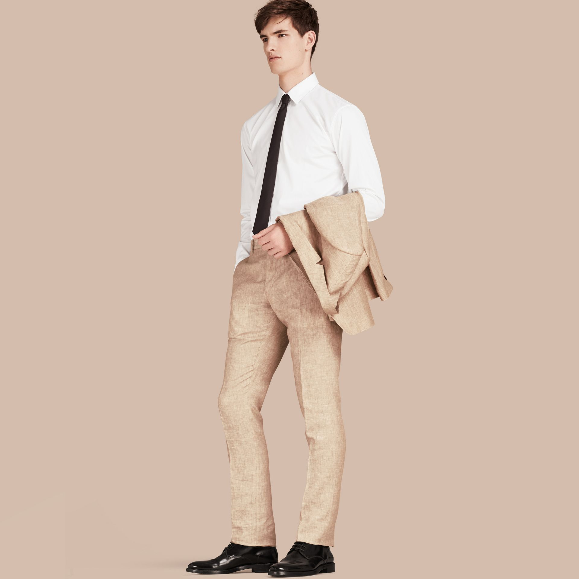 Pale stone Modern Fit Linen Trousers - gallery image 1