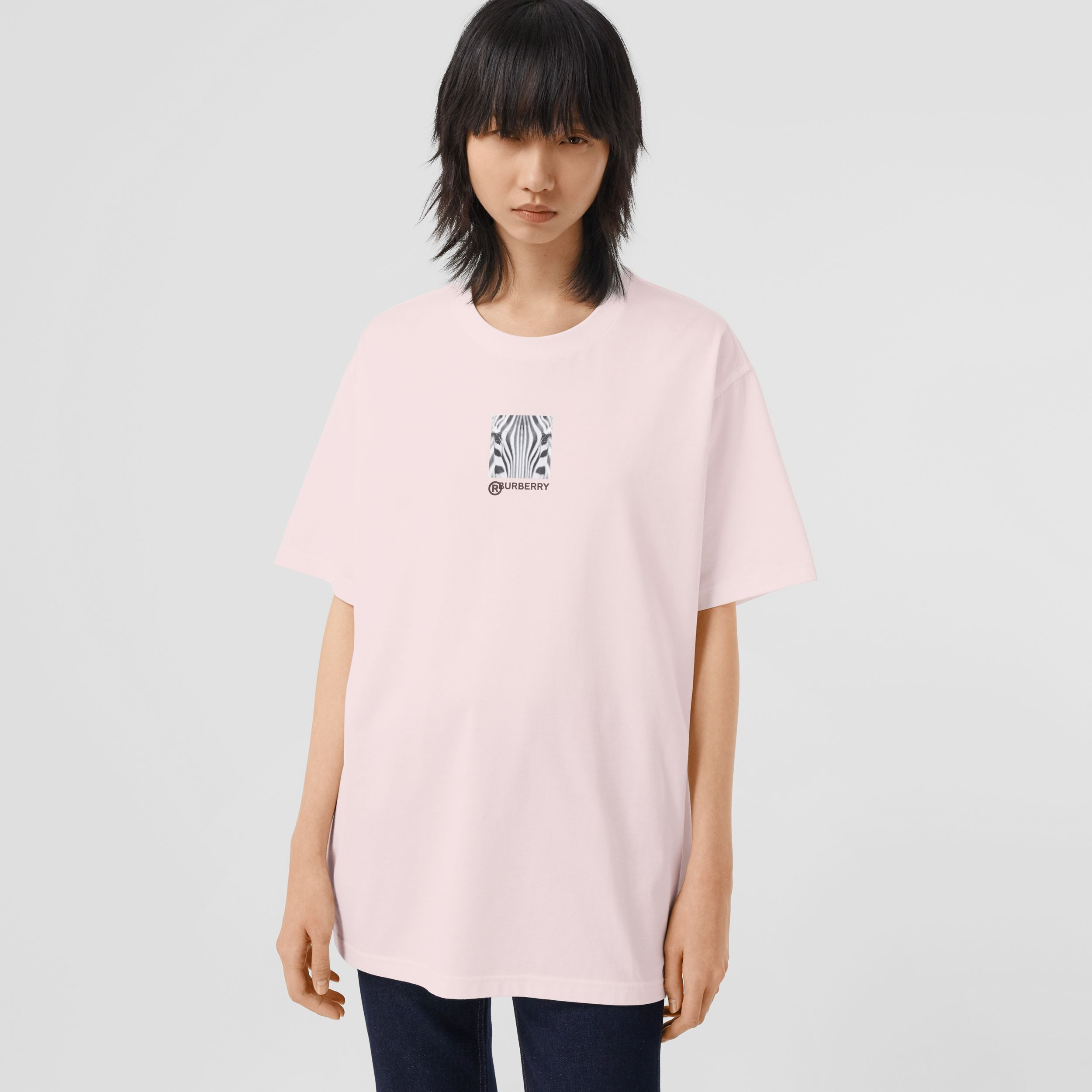 Montage Print Cotton Oversized T-shirt in Alabaster Pink - Women | Burberry - 1