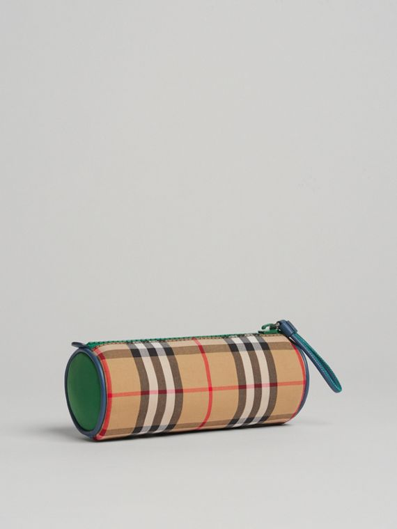 Vintage Check and Leather Pencil Case in Antique Yellow
