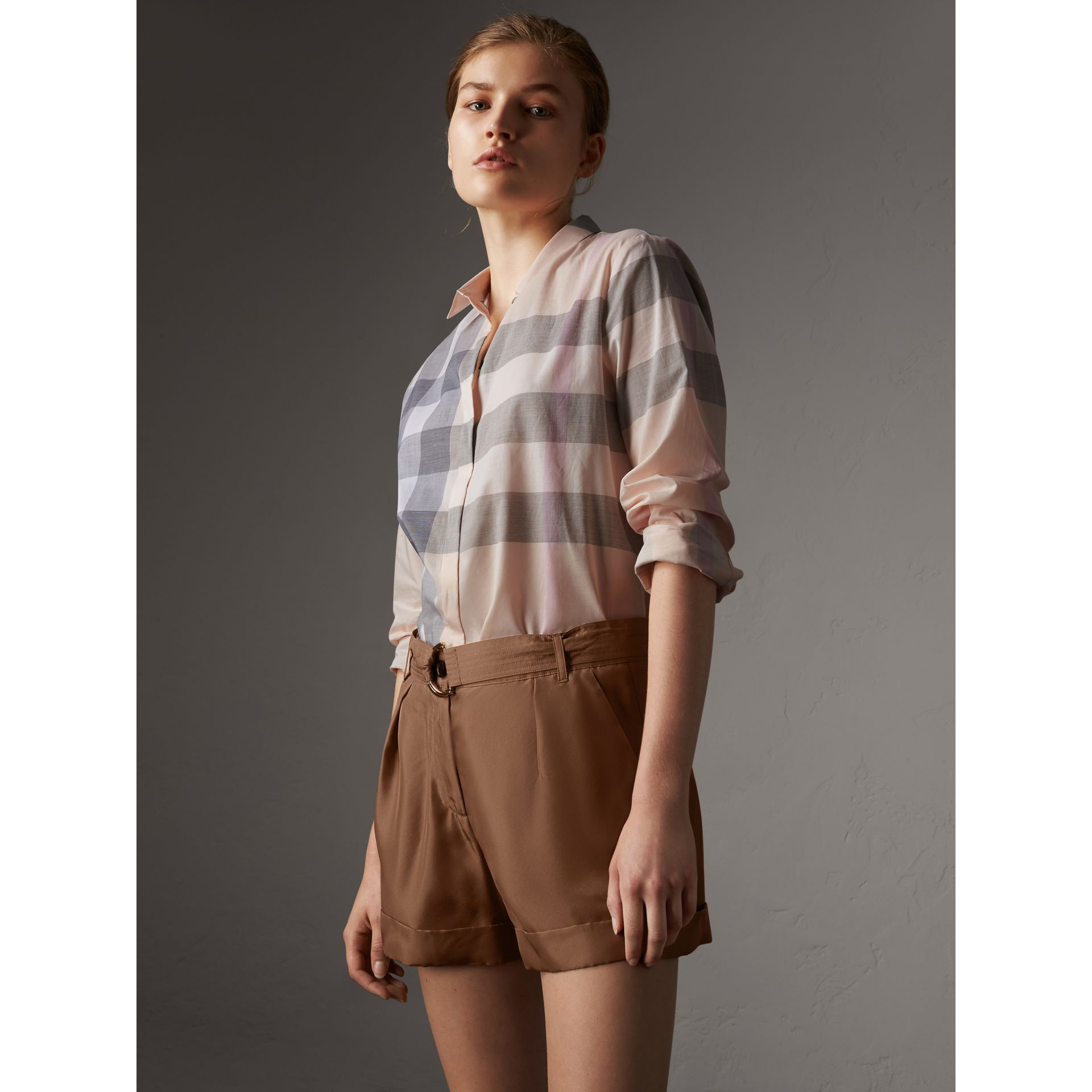 Check Cotton Shirt in Apricot - Women | Burberry - gallery image 0