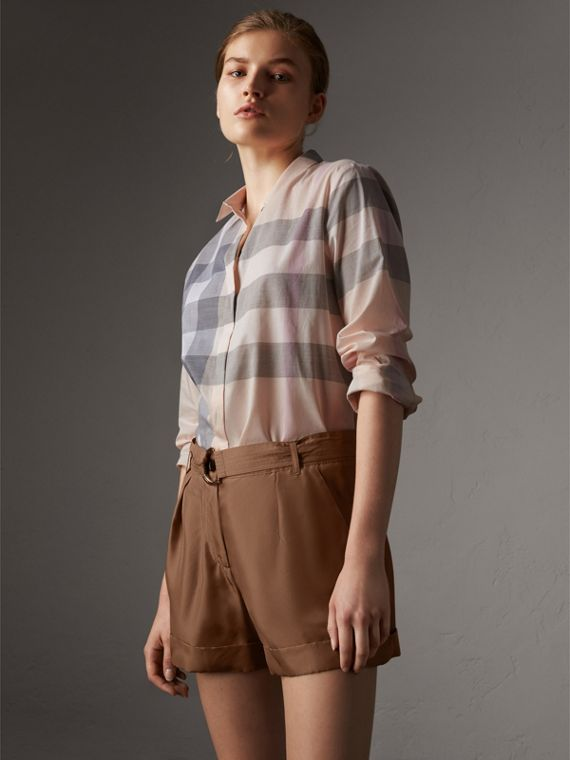 Check Cotton Shirt in Apricot