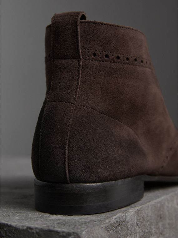 Brogue Detail Suede Desert Boots in Peat Brown - Men | Burberry - cell image 2