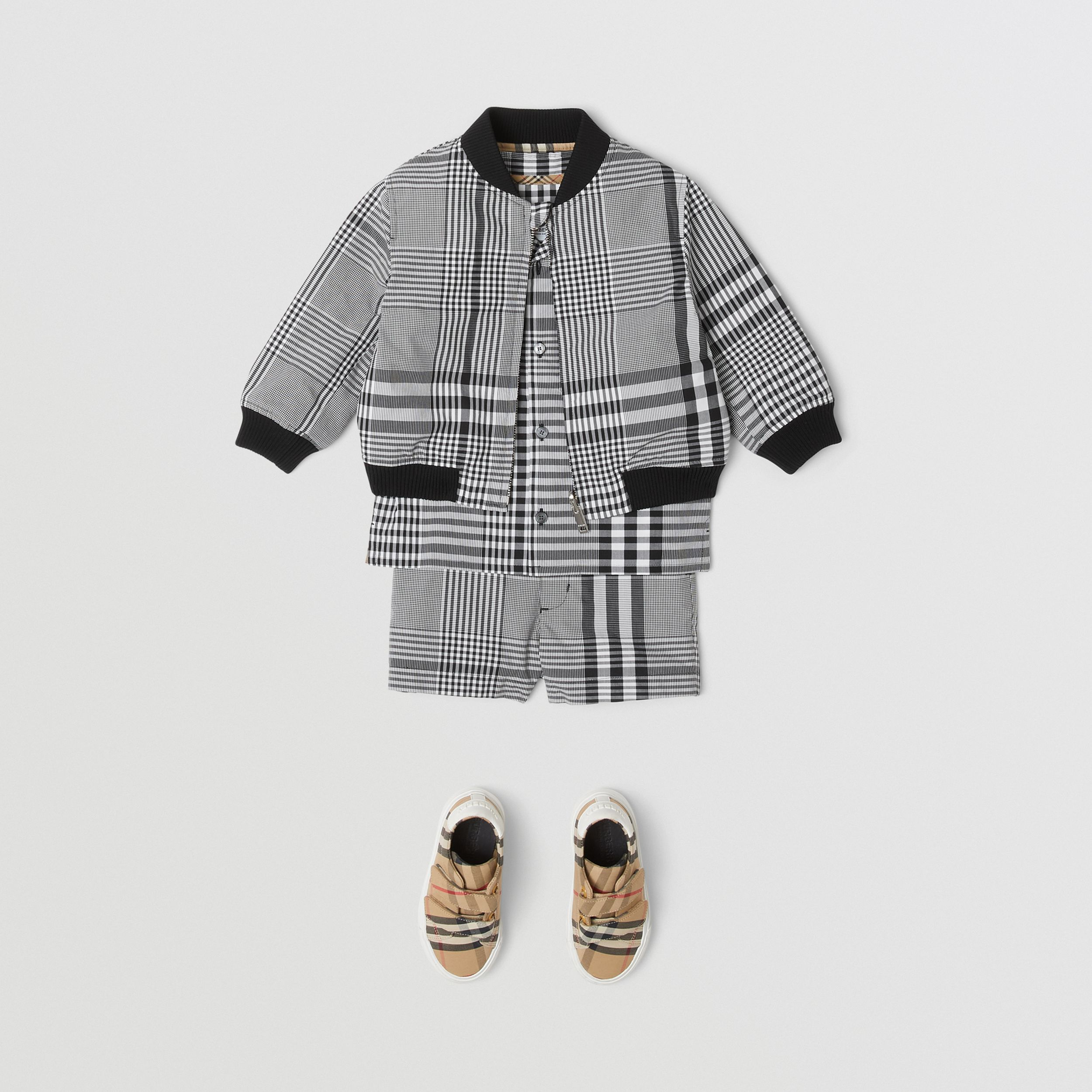 Reversible Check Cotton Bomber Jacket in Black - Children | Burberry - 3