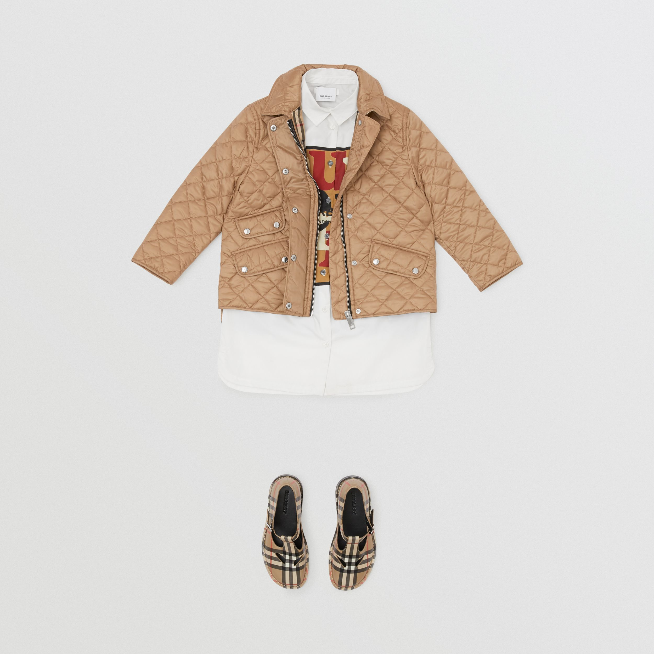 Lightweight Diamond Quilted Jacket in Honey | Burberry - 3