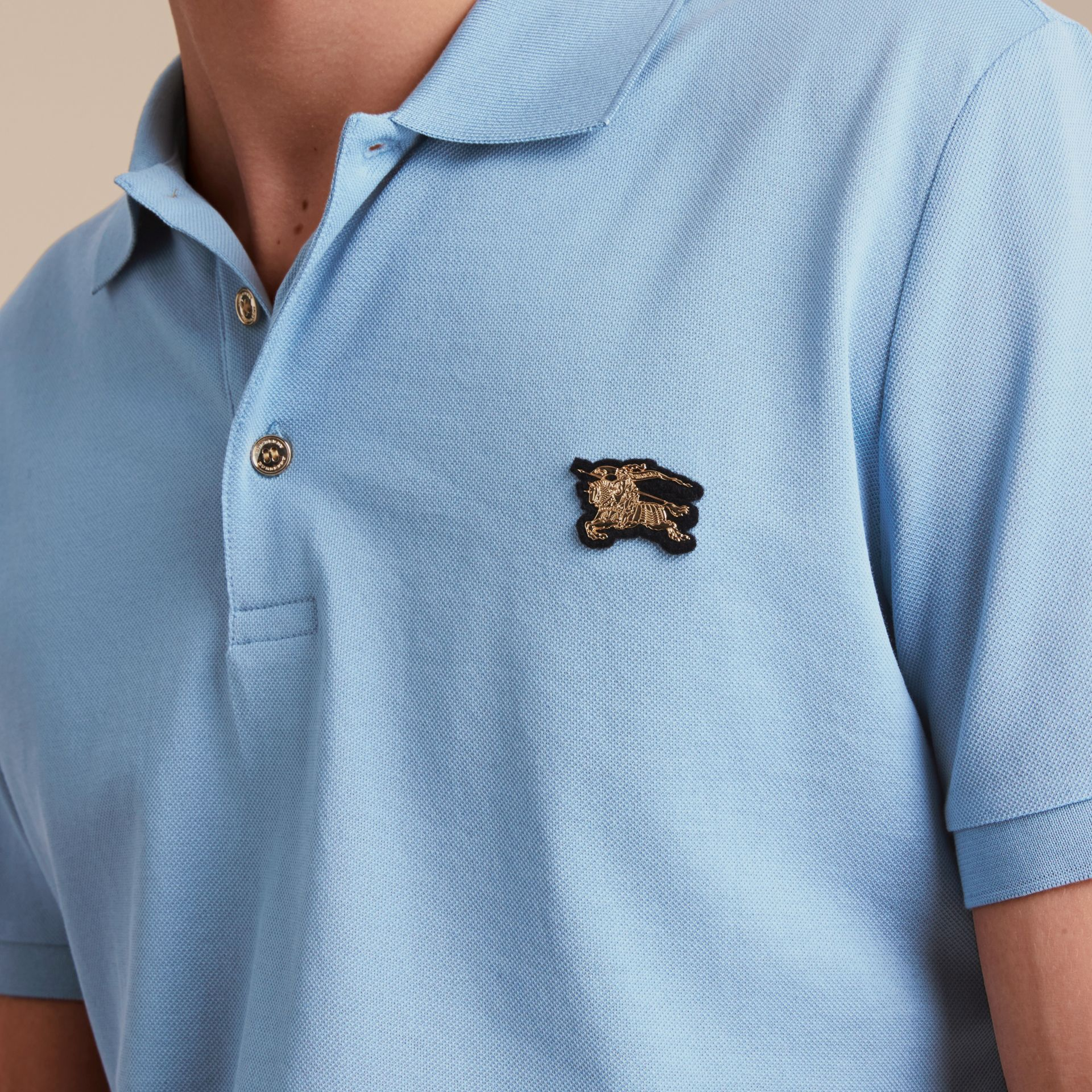 Fitted Mercerised Cotton-Piqué Polo Shirt Powder Blue - gallery image 5