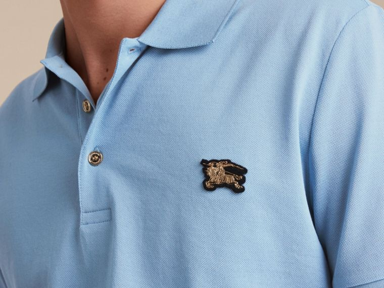 Fitted Mercerised Cotton-Piqué Polo Shirt Powder Blue - cell image 4