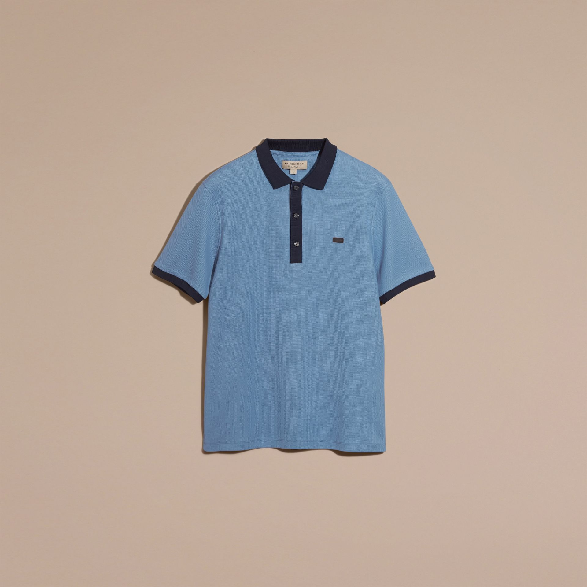 Pale cornflower blue/bright navy Mercerised Cotton Piqué Polo Shirt Pale Cornflower Blue/bright Navy - gallery image 2