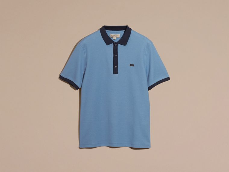 Pale cornflower blue/bright navy Mercerised Cotton Piqué Polo Shirt Pale Cornflower Blue/bright Navy - cell image 1