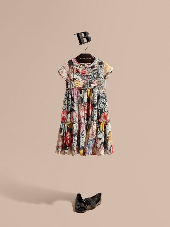 Ruched Detail Painterly Floral Print Silk Dress