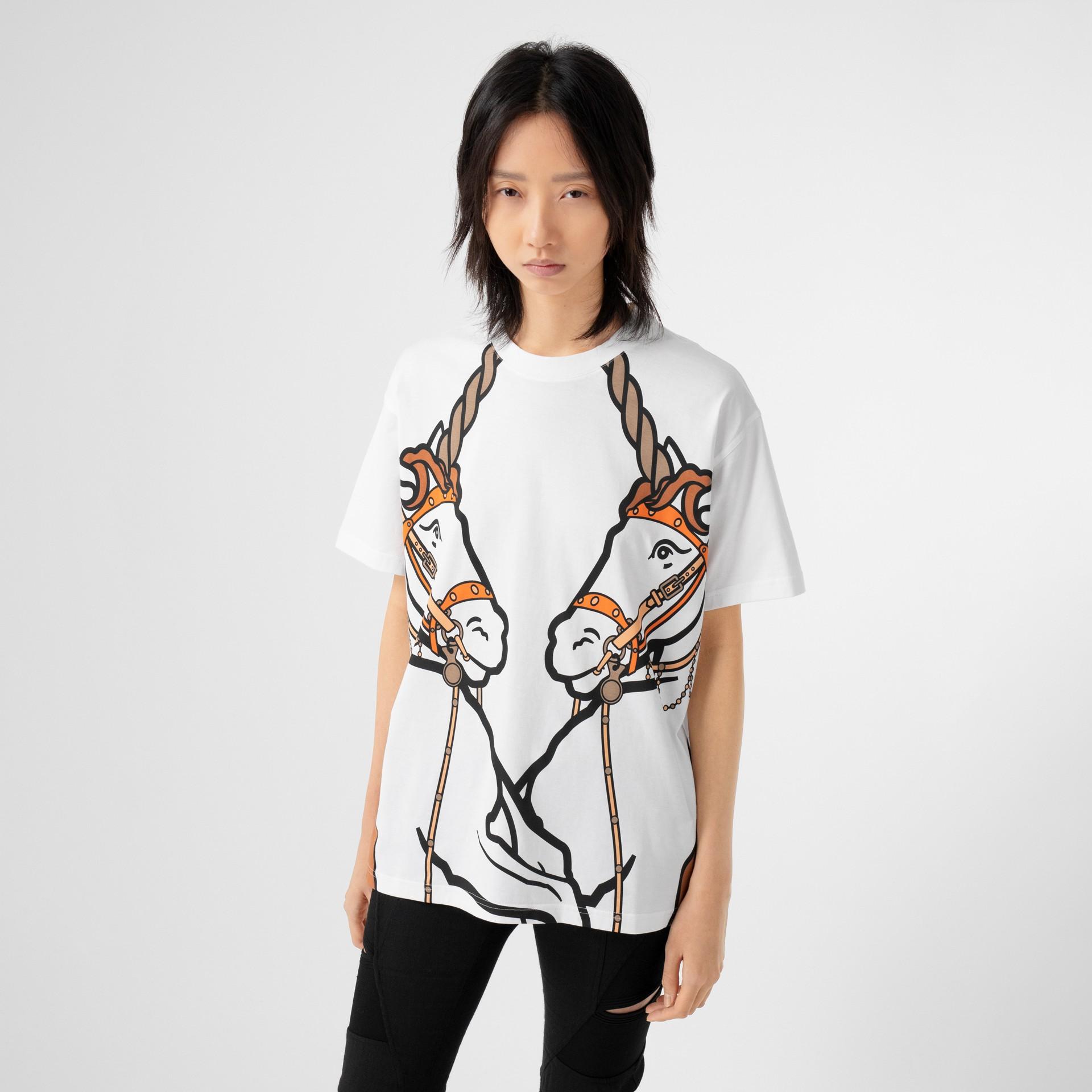 Unicorn Print Cotton Oversized T-shirt in White - Women   Burberry United Kingdom - gallery image 4
