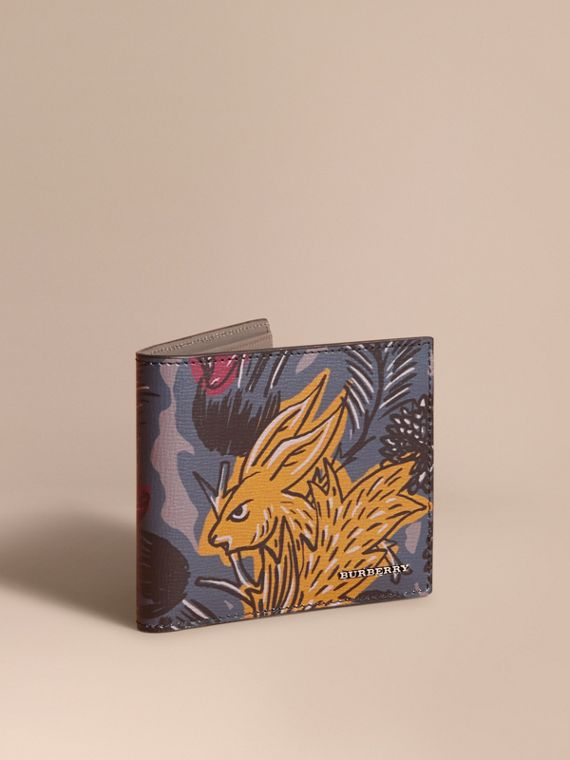Beasts Print Leather Folding Wallet in Navy Grey