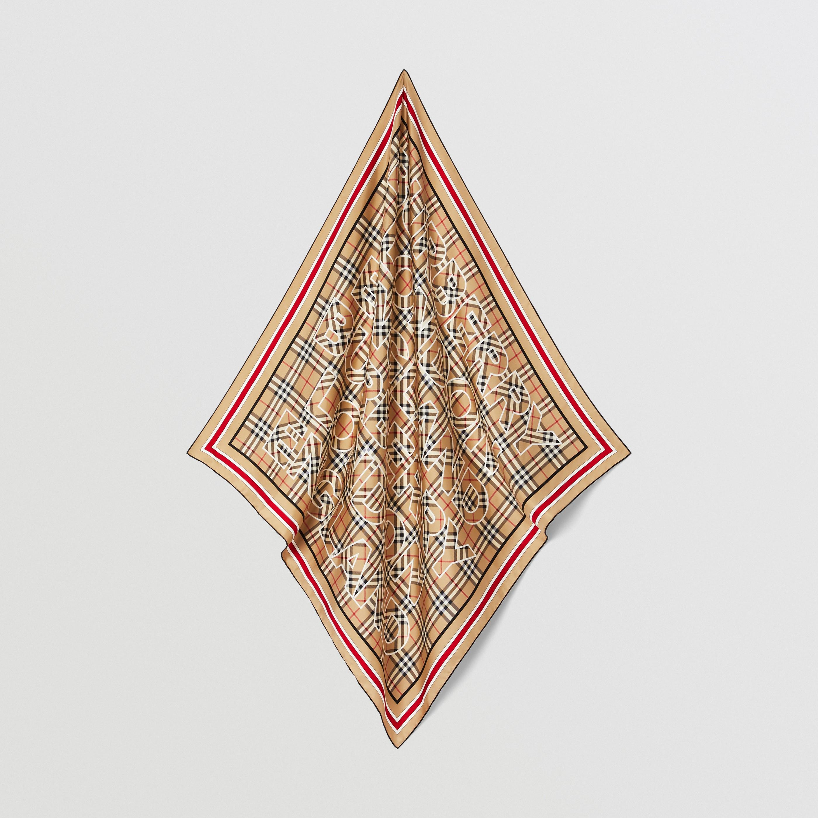 Foulard in seta con motivo Vintage check e logo (Beige Archivio) | Burberry - 5