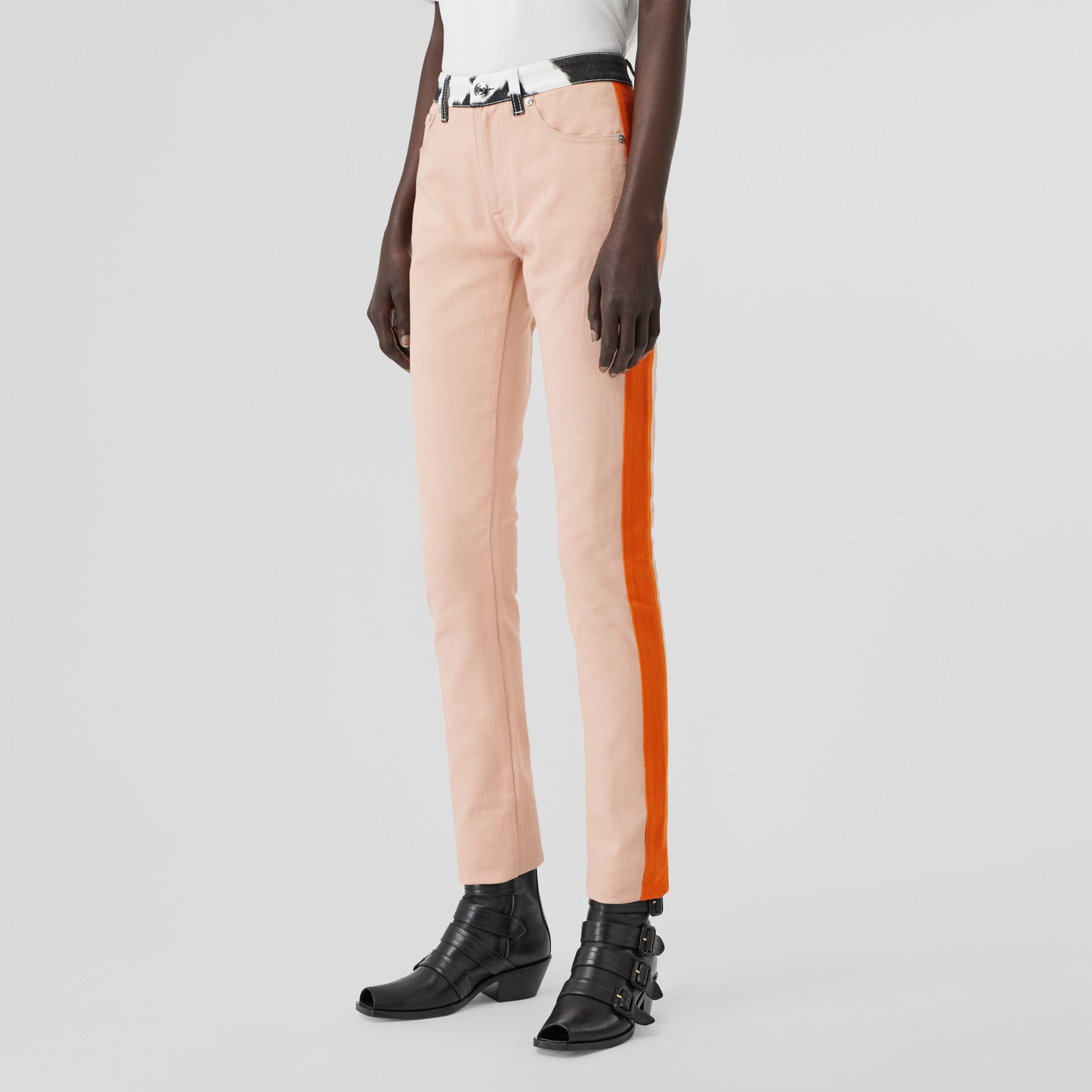 Straight Fit Cow Print Trim Japanese Denim Jeans in Pink - Women | Burberry United Kingdom - gallery image 4