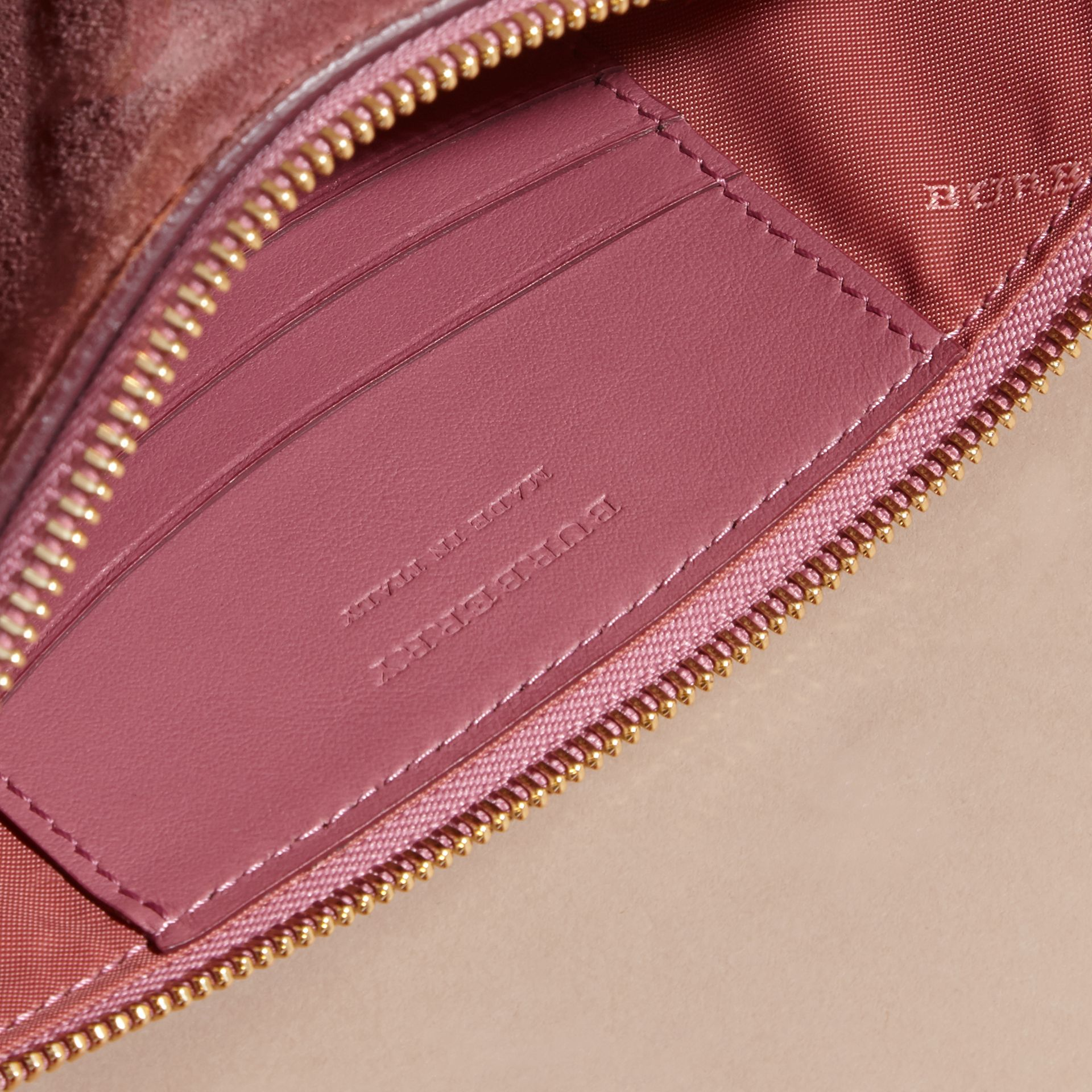 Suede Clutch Bag with Buckled Bow Detail Dusty Pink - gallery image 6