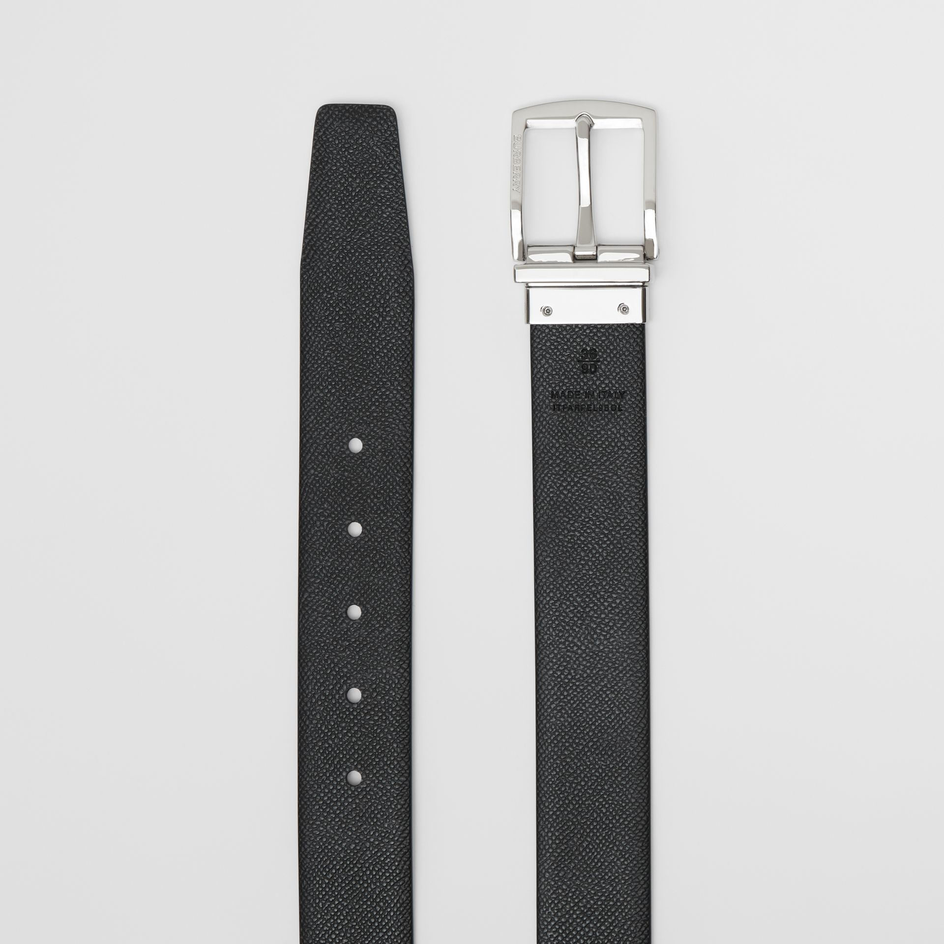 Reversible Grainy Leather Belt in Chocolate/black - Men | Burberry - gallery image 8