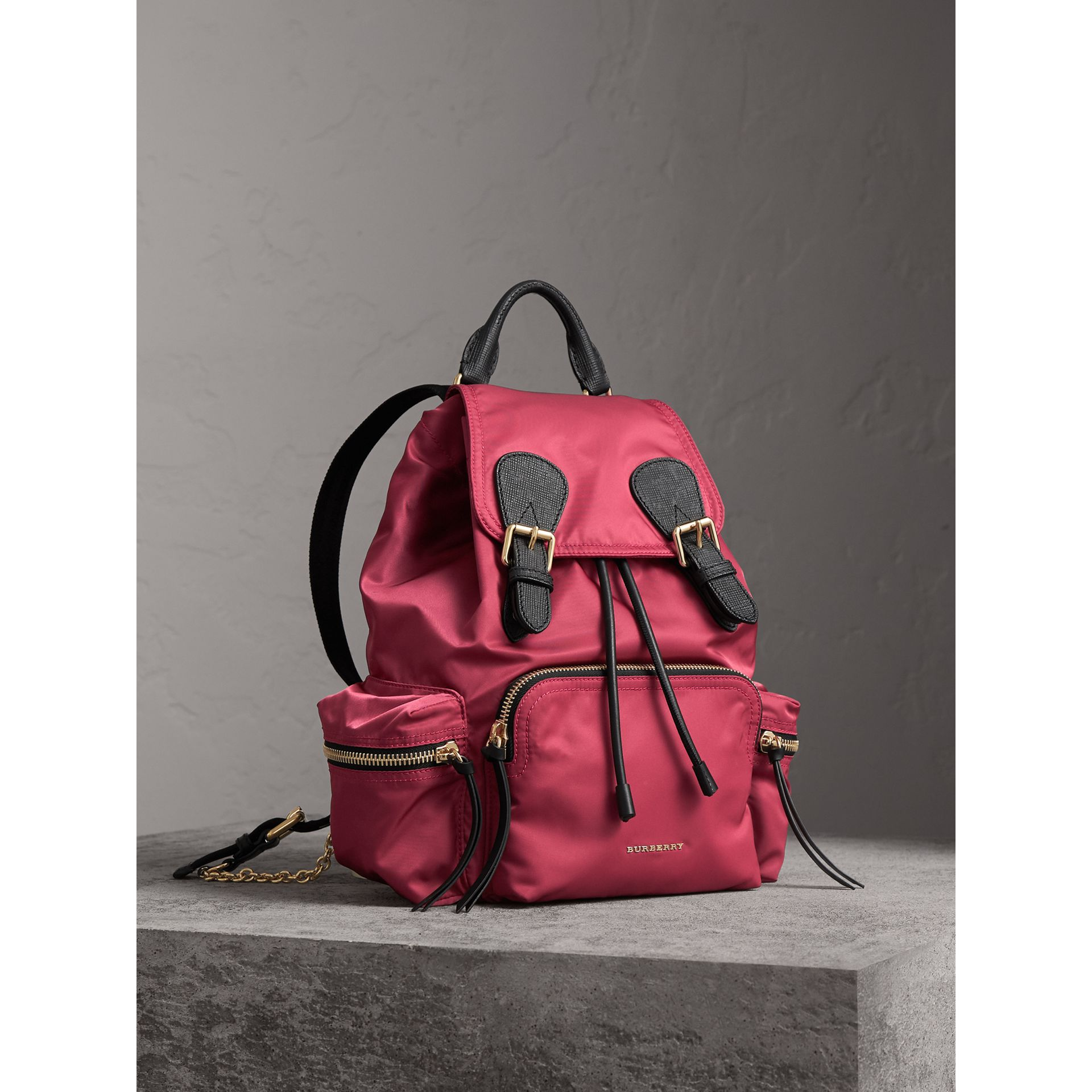 The Medium Rucksack in Technical Nylon and Leather in Plum Pink - Women | Burberry - gallery image 8