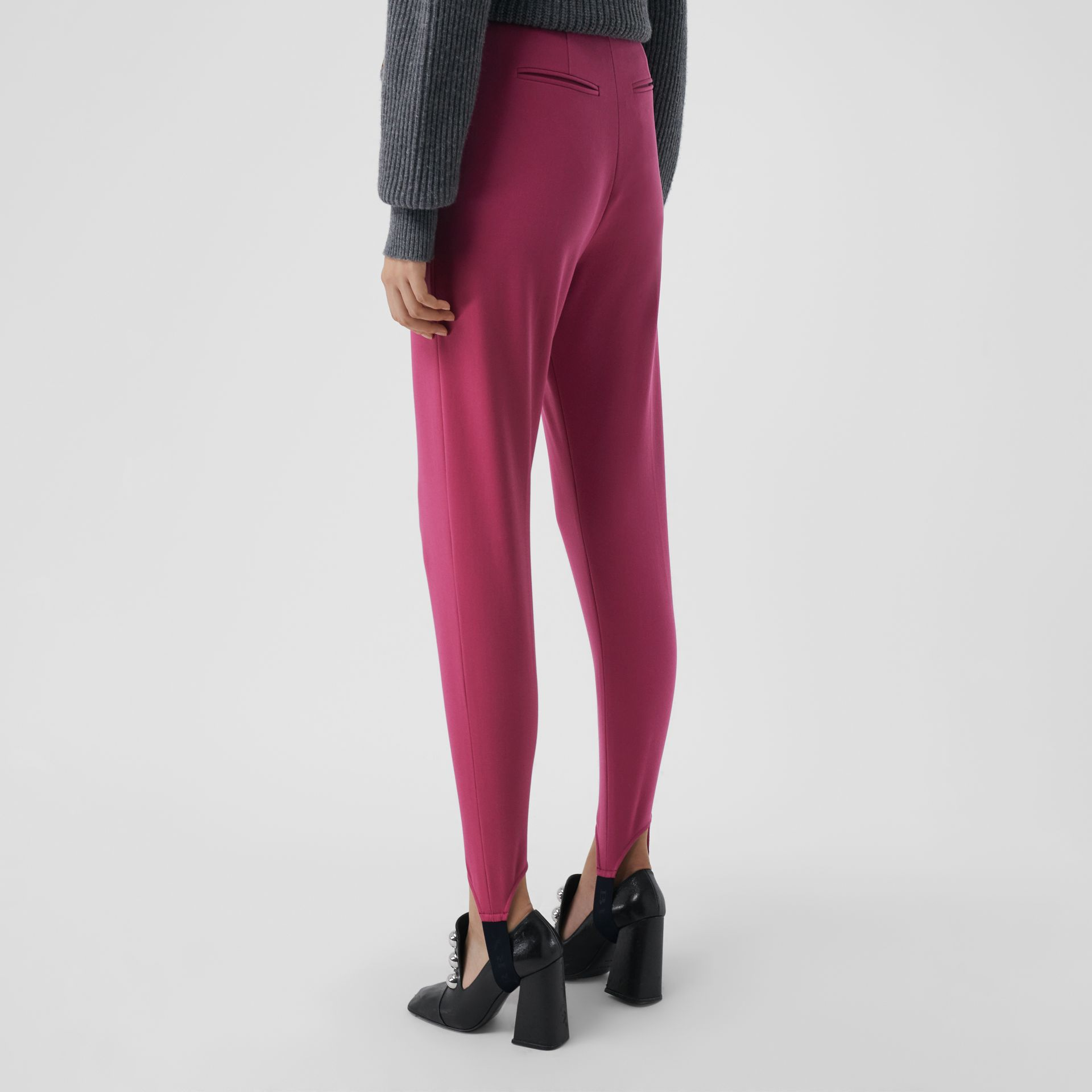 Long Cotton Blend Tailored Jodhpurs in Plum Pink - Women | Burberry - gallery image 2