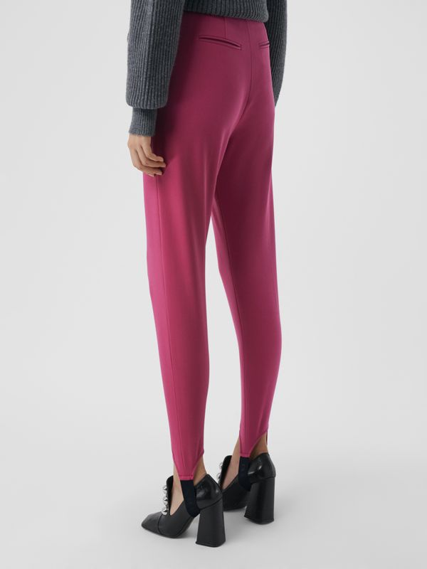 Long Cotton Blend Tailored Jodhpurs in Plum Pink - Women | Burberry - cell image 2