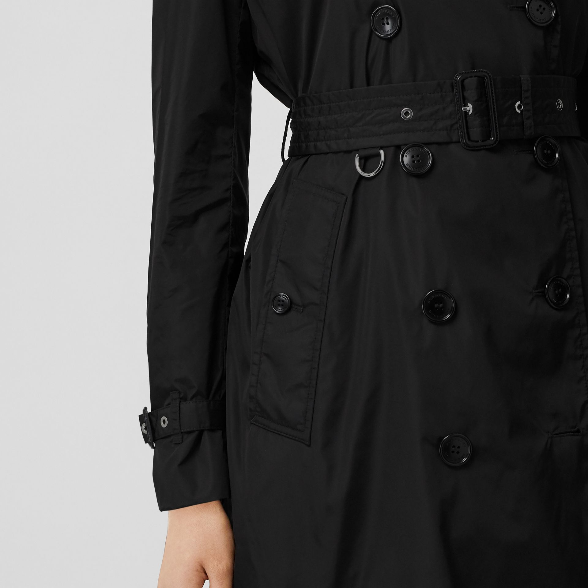 Detachable Hood ECONYL® Trench Coat in Black - Women | Burberry United Kingdom - gallery image 4