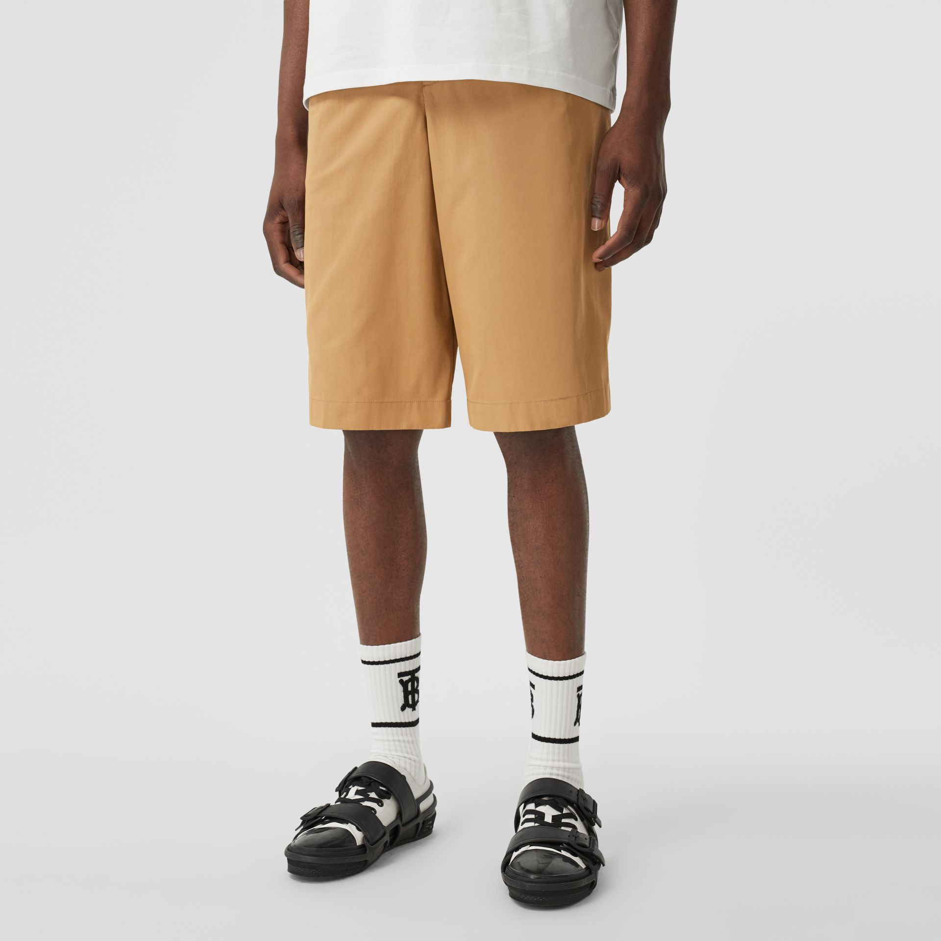 Icon Stripe Detail Cotton Twill Tailored Shorts in Camel - Men | Burberry United States - gallery image 4