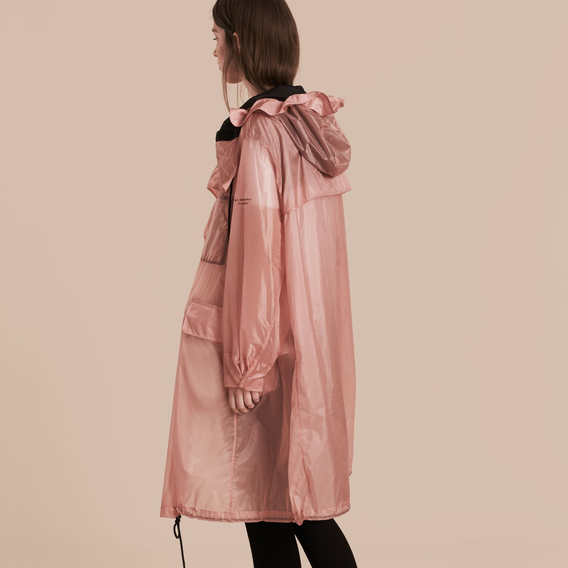 Hooded Lightweight Oversize Parka Ash Rose - gallery image 3