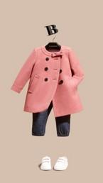 Manteau en laine et cachemire avec nœud contrastant