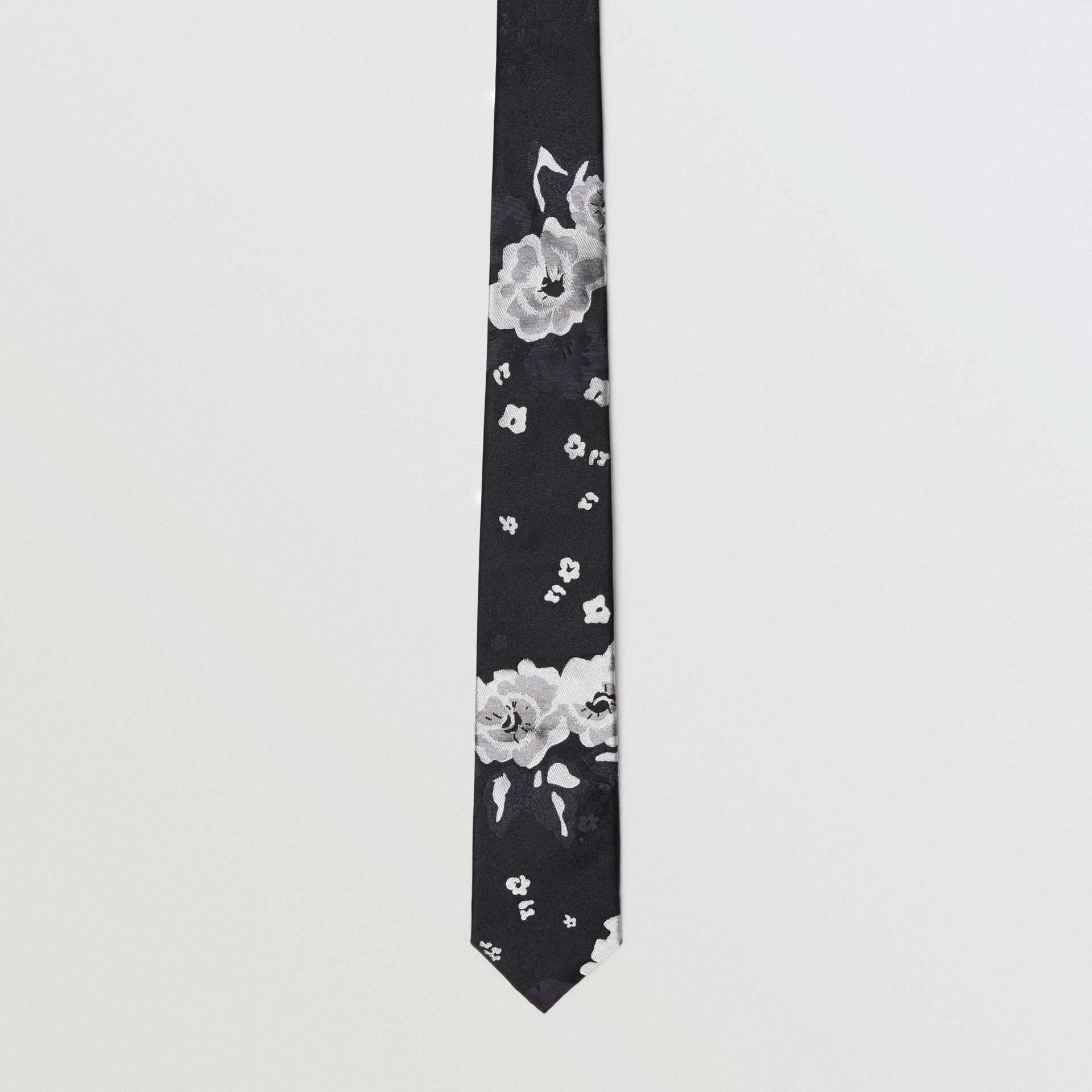 Slim Cut Floral Silk Tie in Black - Men | Burberry United Kingdom - gallery image 4