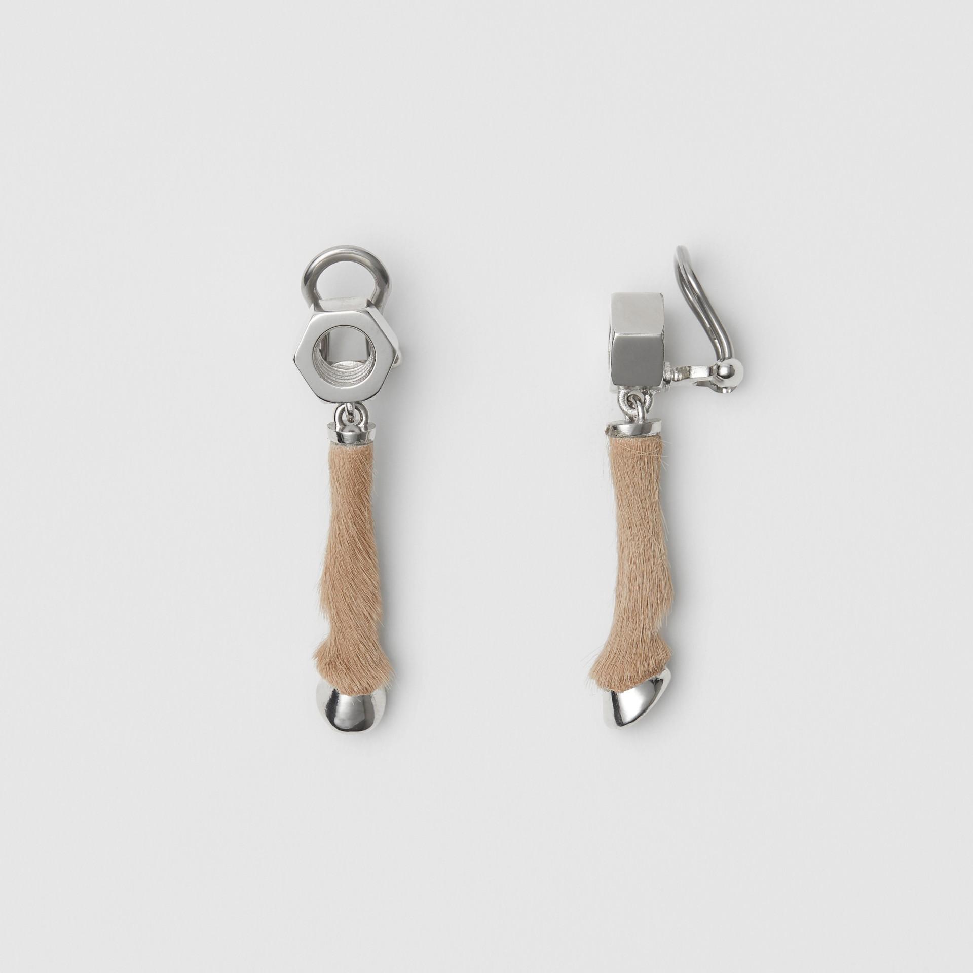 Calf Hair and Palladium-Plated Hoof Drop Earrings in Palladium/honey - Women | Burberry Australia - gallery image 3