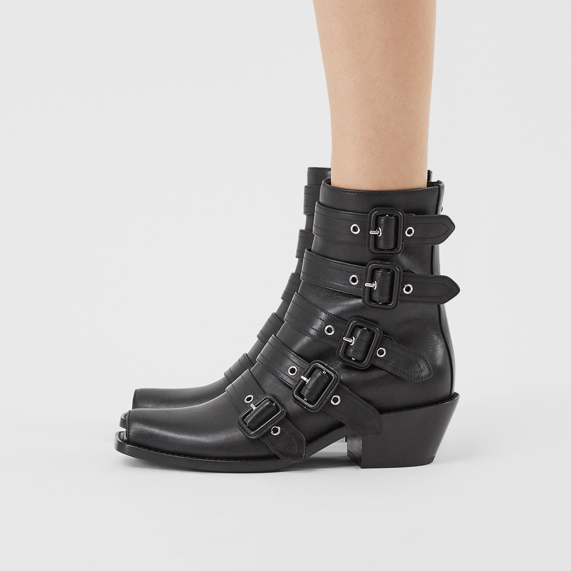 Buckled Leather Peep-toe Ankle Boots in Black - Women | Burberry United Kingdom - gallery image 2