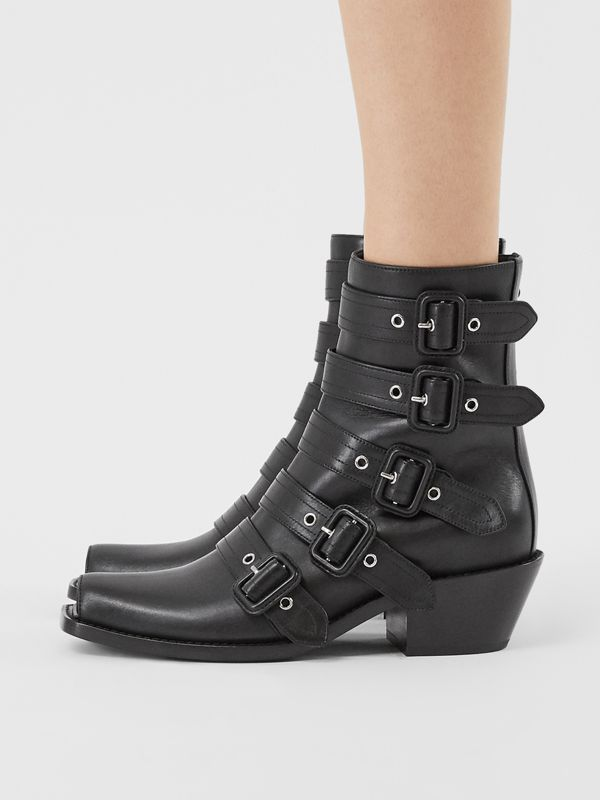 Buckled Leather Peep-toe Ankle Boots in Black - Women | Burberry United States - cell image 2