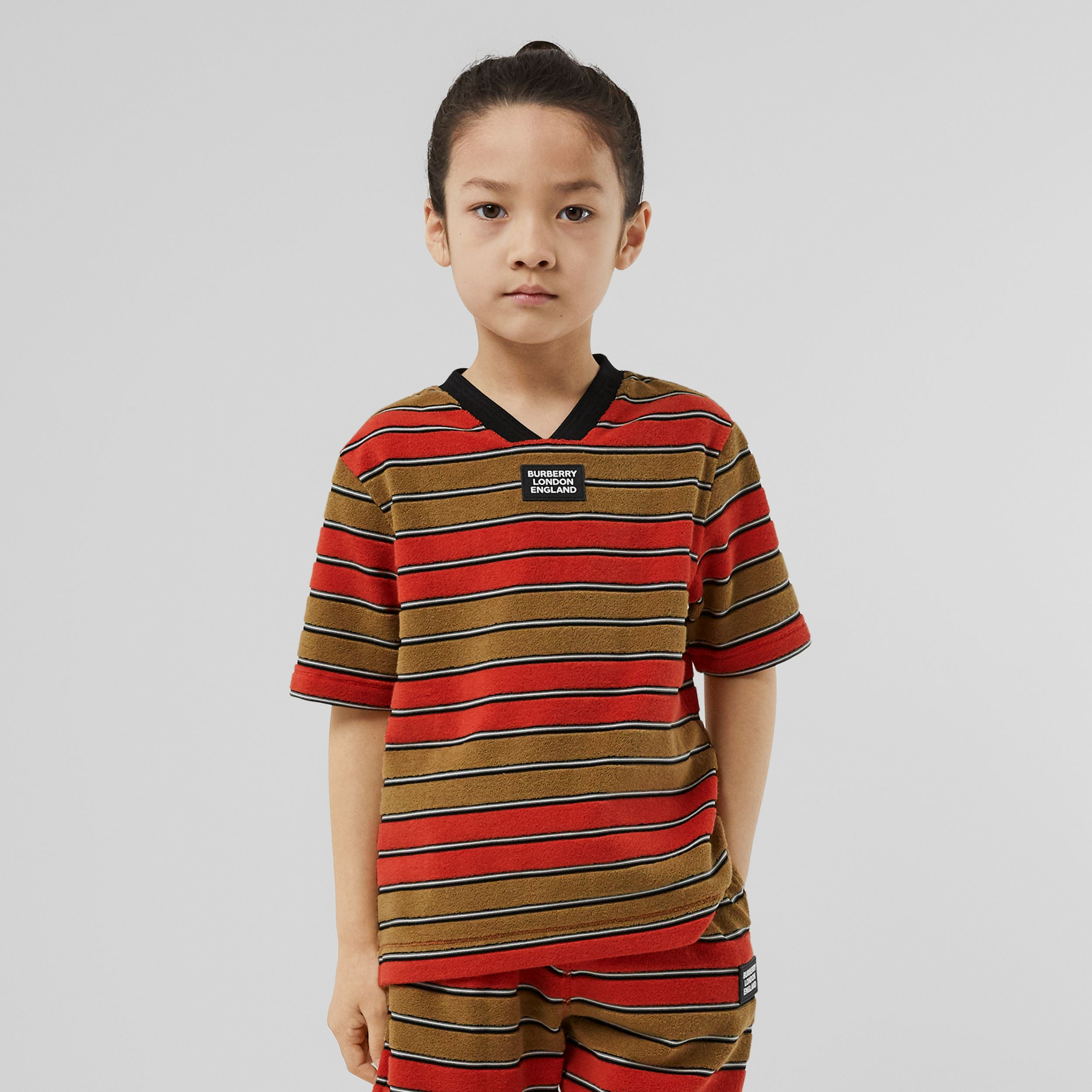 Logo Appliqué Striped Towelling T-shirt in Vermilion Red - Children | Burberry - 3