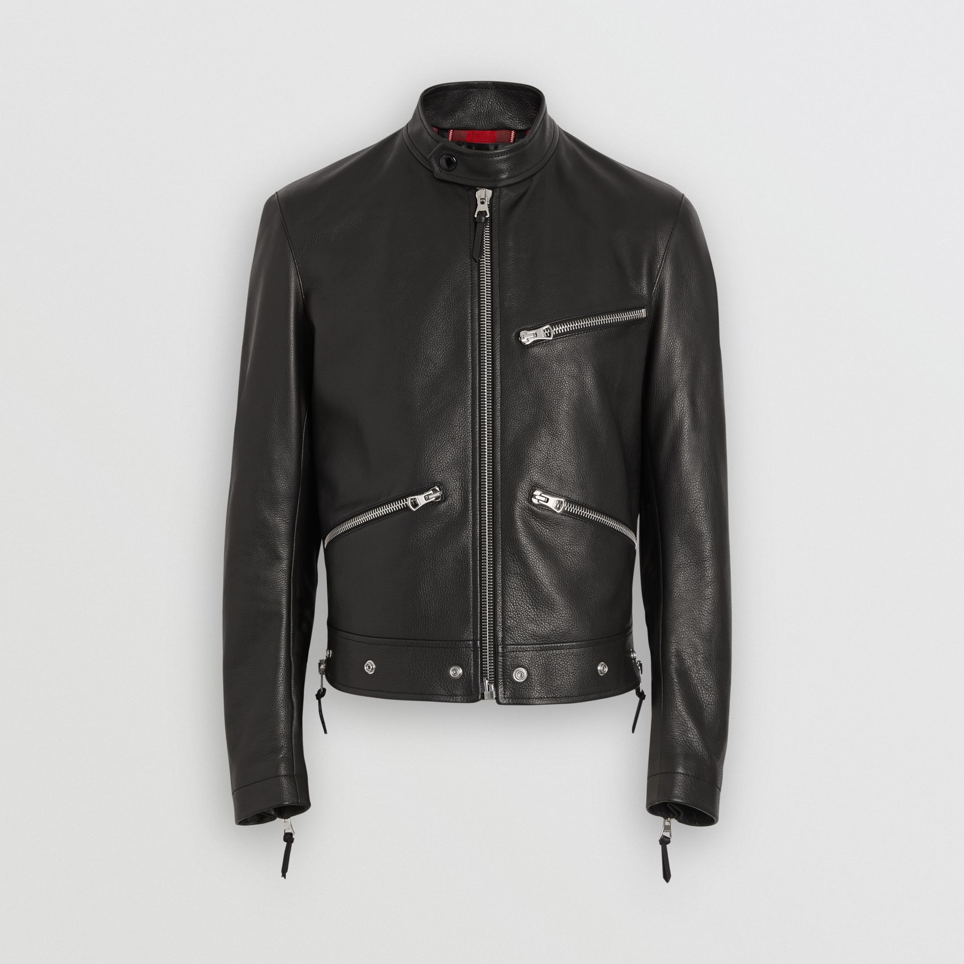 Zip Detail Leather Jacket in Black - Men | Burberry - gallery image 3