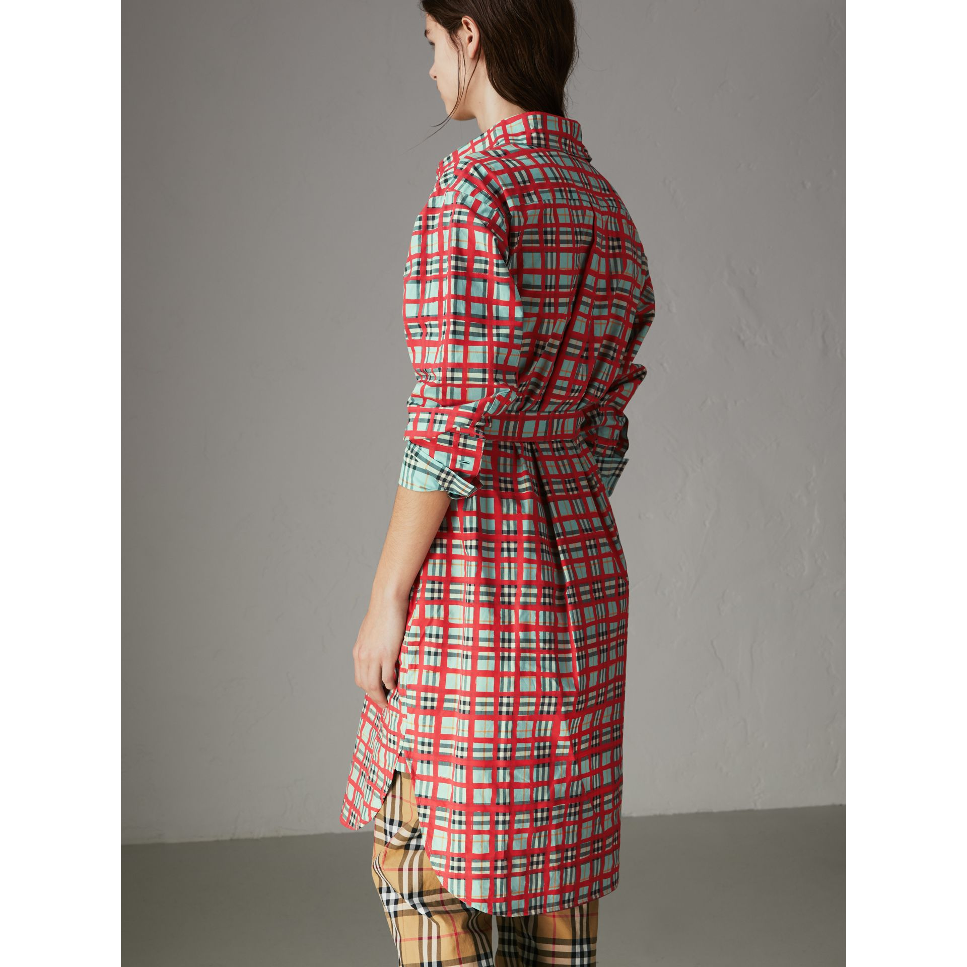 Painted Check Cotton Tie-waist Shirt Dress in Bright Aqua - Women | Burberry Singapore - gallery image 2