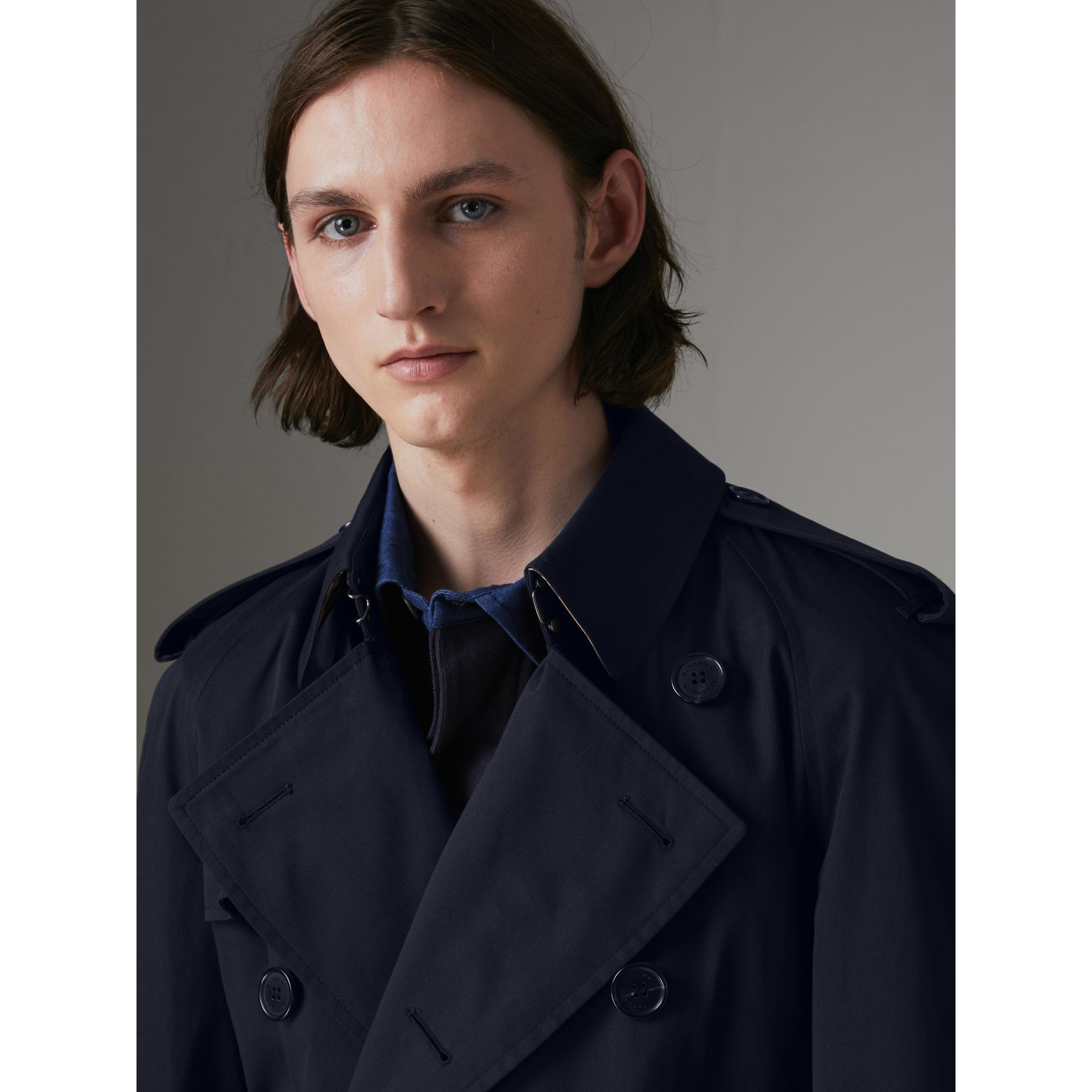 Painted Vintage Check-lined Gabardine Trench Coat in Ink Blue - Men | Burberry - gallery image 6