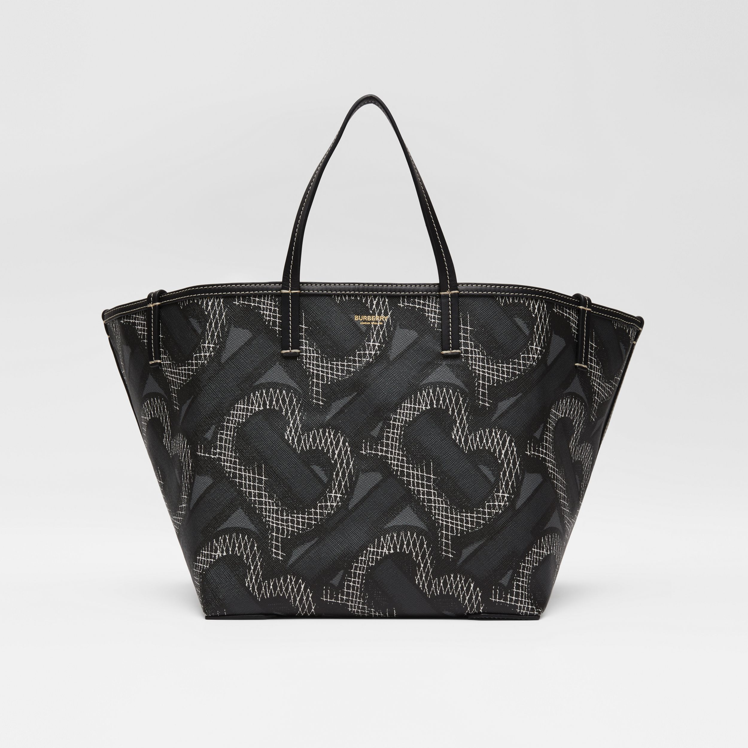 Mini Monogram Print E-canvas Beach Tote in Graphite | Burberry Australia - 1