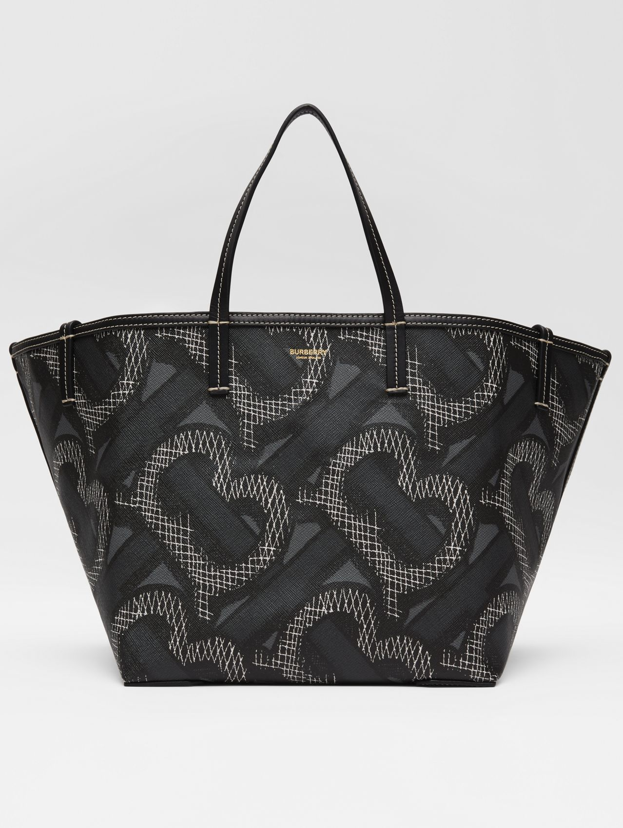 Mini Monogram Print E-canvas Beach Tote (Graphite)