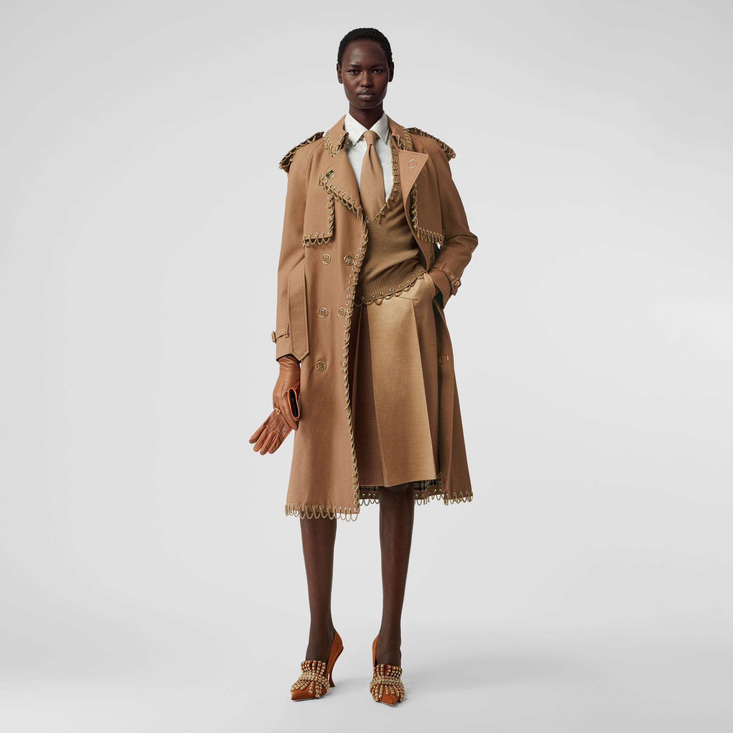 Lambskin Trim Box-pleated Wool Silk Skirt in Camel - Women | Burberry Australia - 1