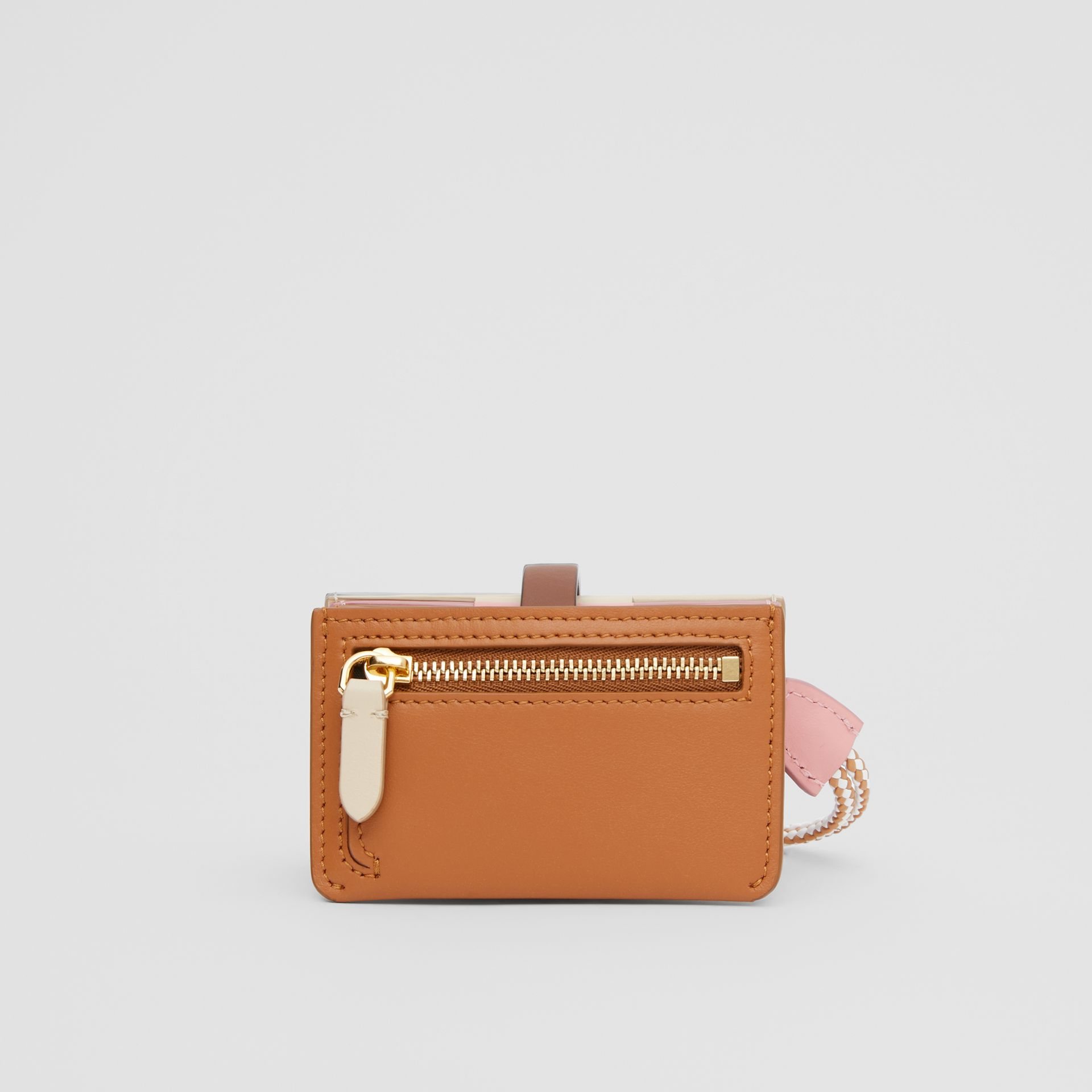 Monogram Motif Colour Block Leather Card Case in Tan/pale Copper/peony Pink - Women | Burberry - gallery image 5