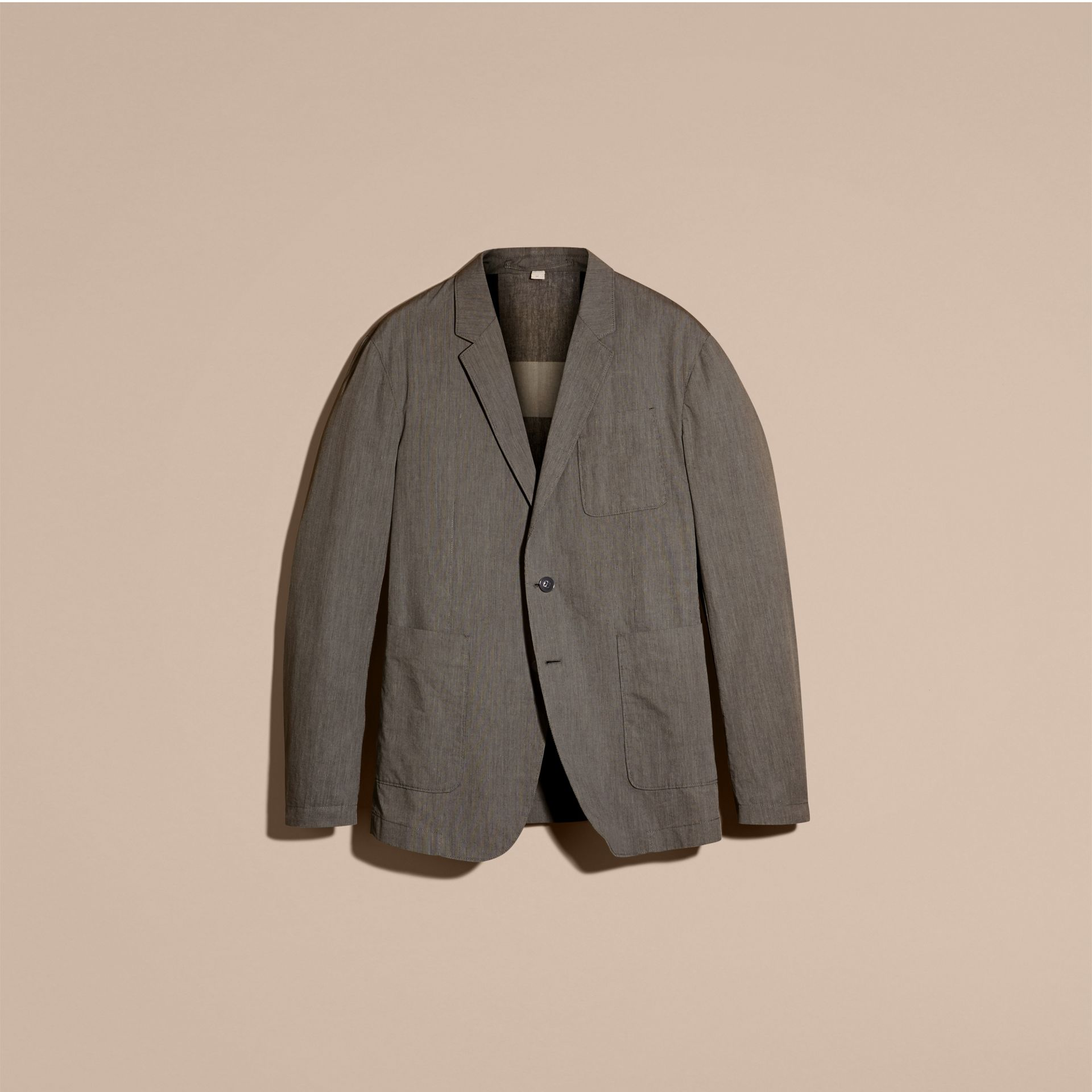 Dark grey Cotton Tailored Jacket - gallery image 4