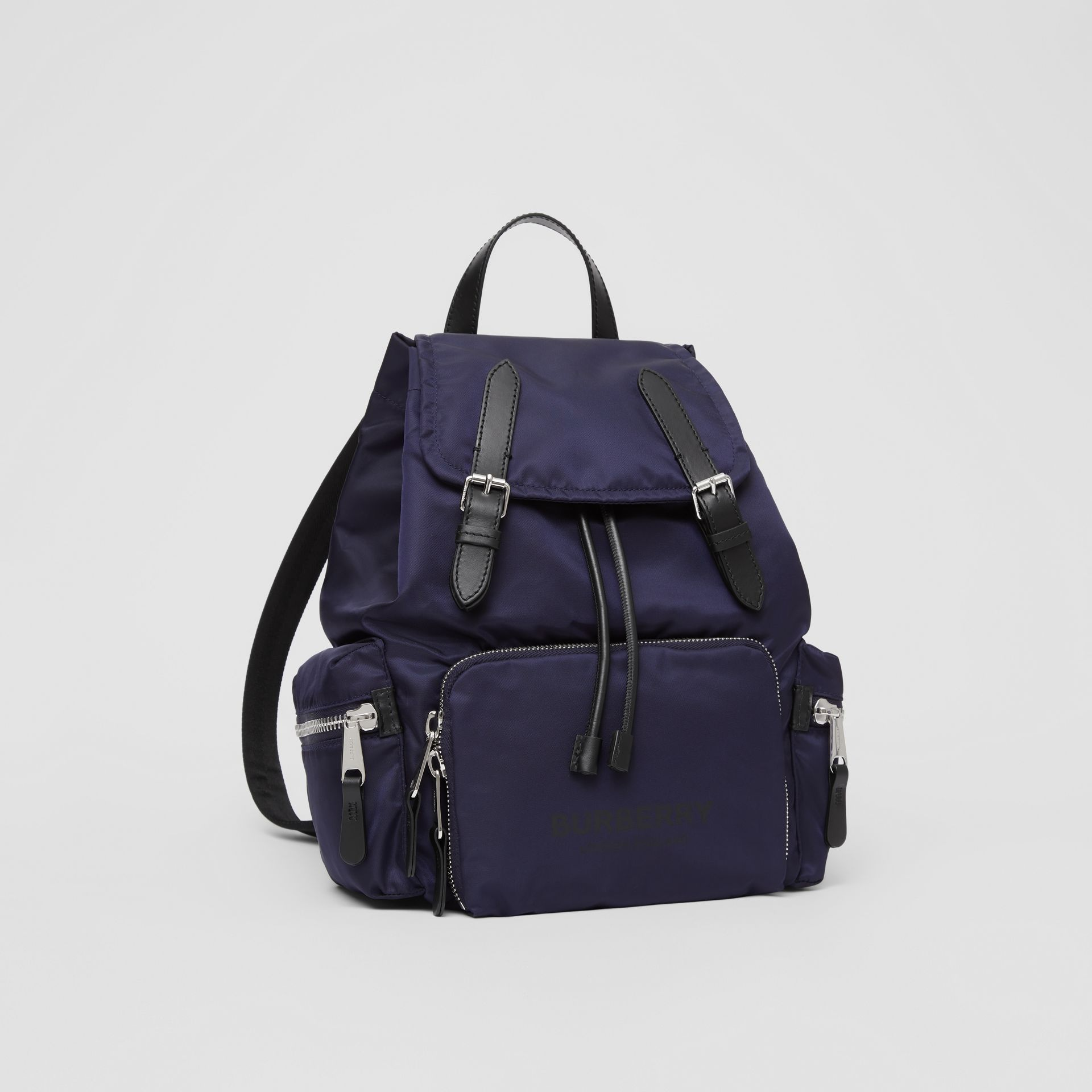 The Medium Rucksack in Logo Print ECONYL® in Navy - Women | Burberry Canada - gallery image 6