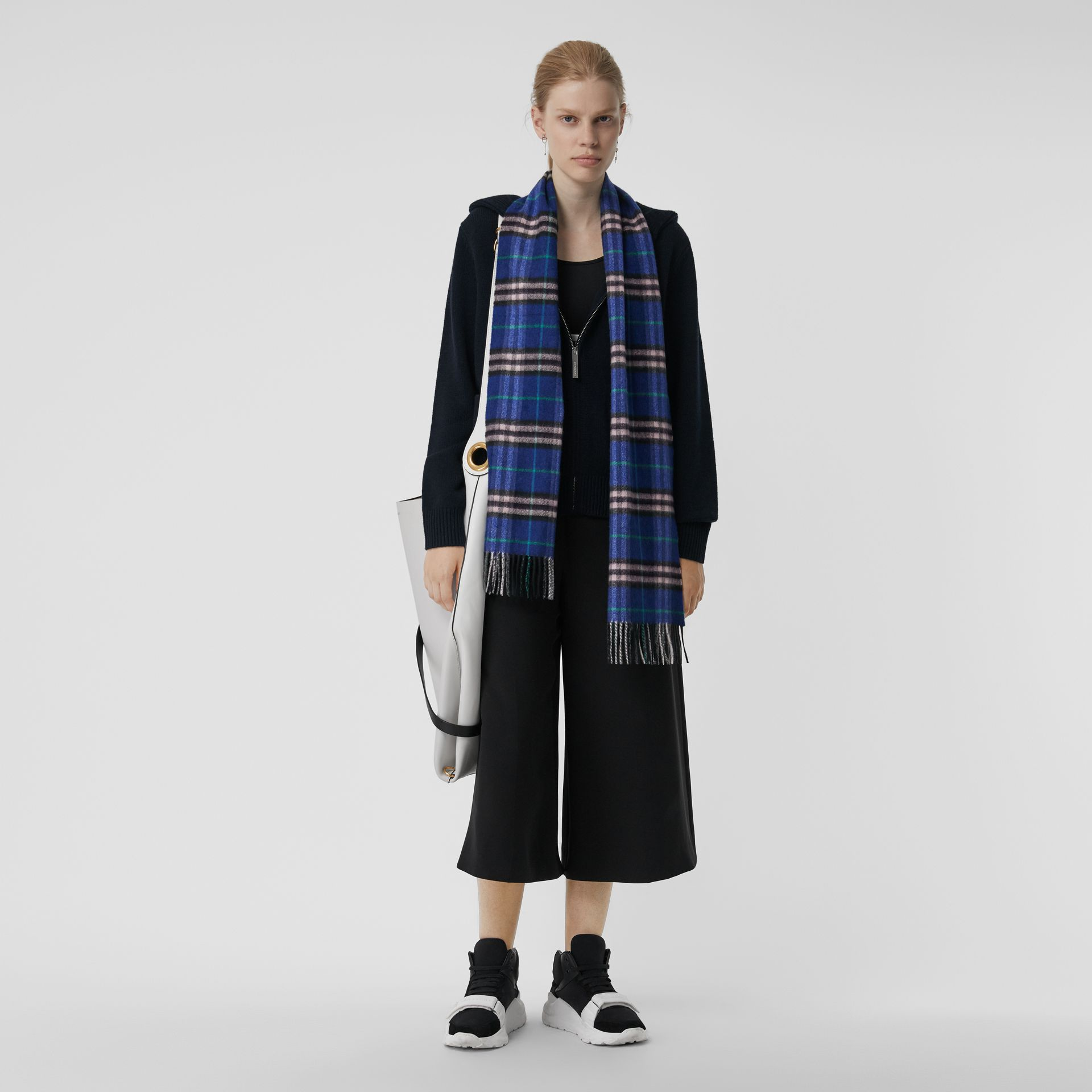 Check Cashmere Scarf in Bright Navy | Burberry Australia - gallery image 2
