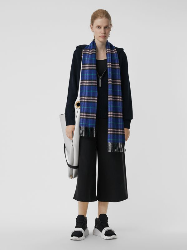 Check Cashmere Scarf in Bright Navy | Burberry - cell image 2