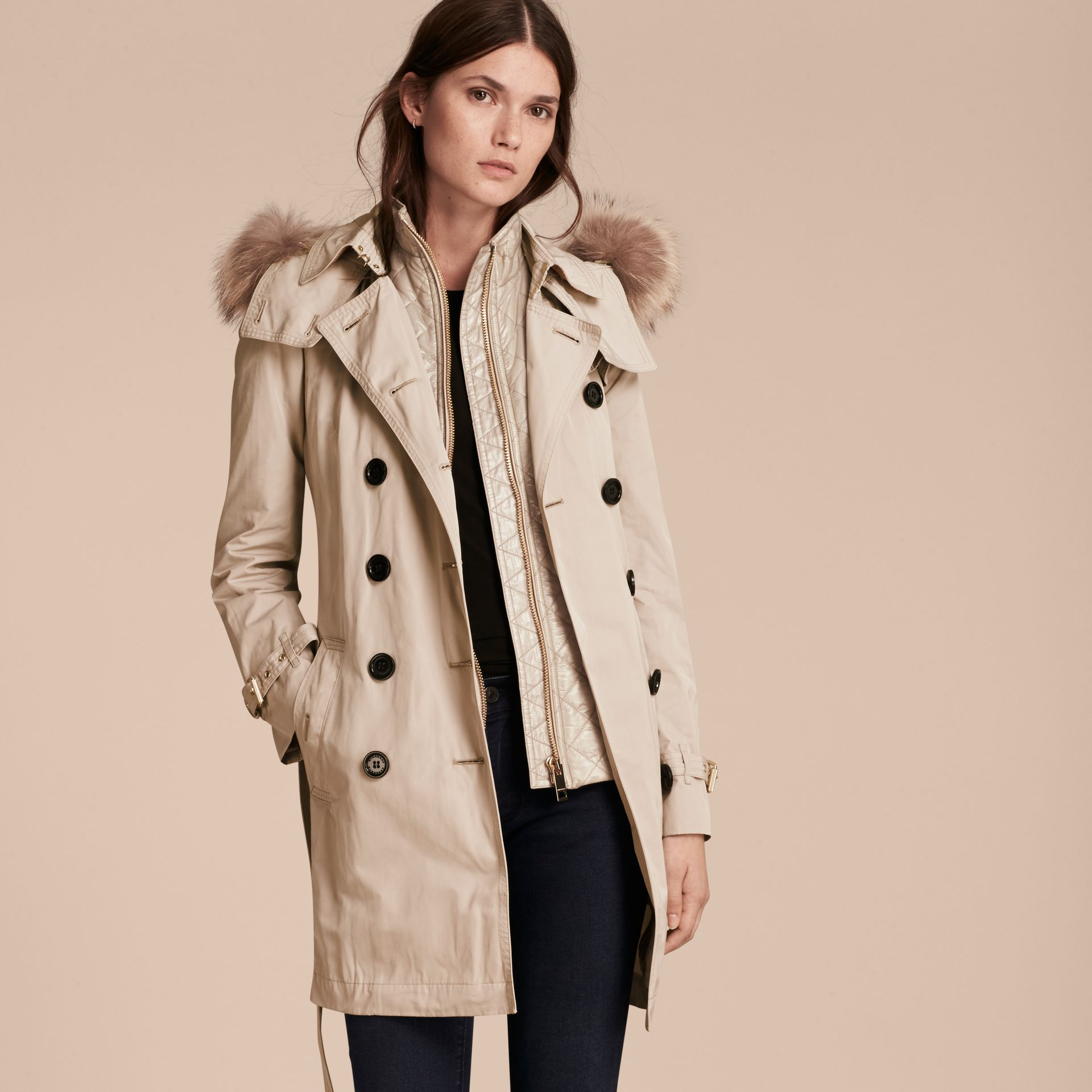 Stone Fur-trimmed Hood Trench Coat with Detachable Gilet Stone - gallery image 7