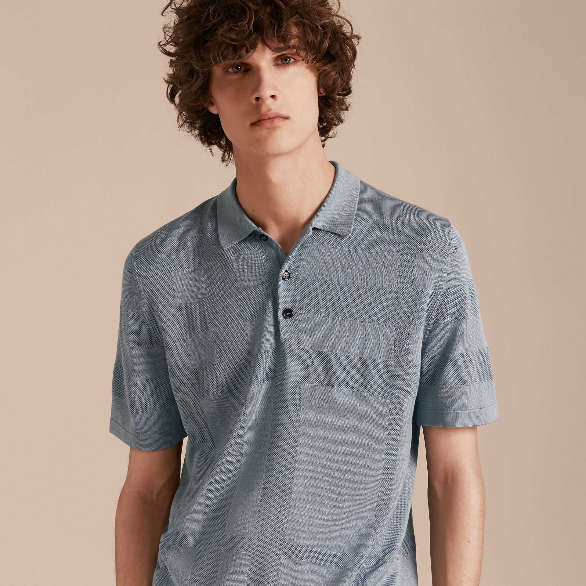 Check Jacquard Piqué Silk Cotton Polo Shirt in Slate Blue - Men | Burberry - gallery image 6