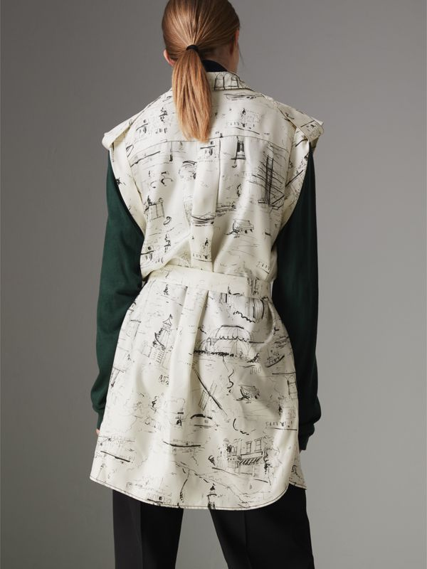 Landmark Print Silk Shirt Dress in Off White/ Black - Women | Burberry Australia - cell image 2