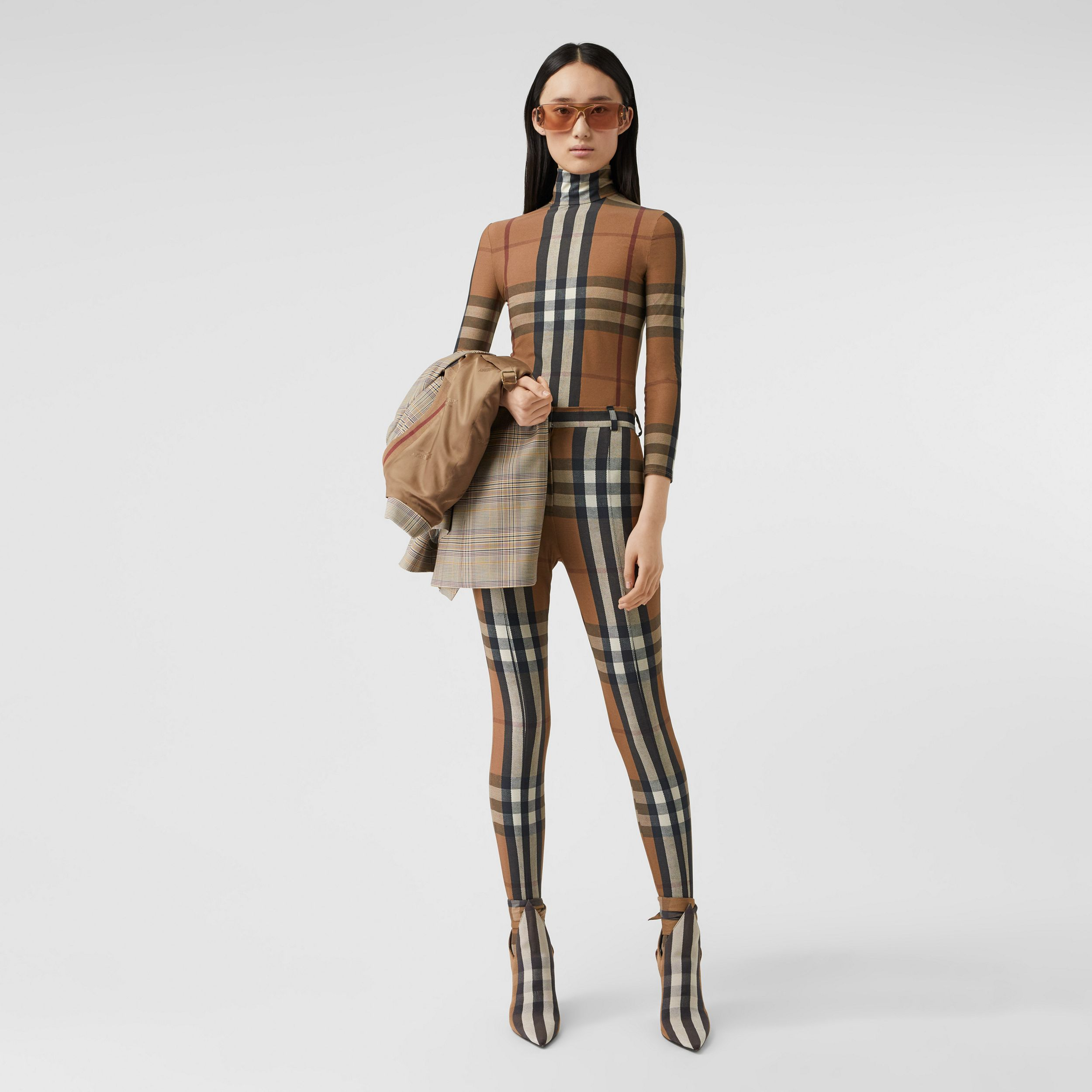 Check Stretch Jersey Turtleneck Top in Soft Fawn - Women | Burberry - 1