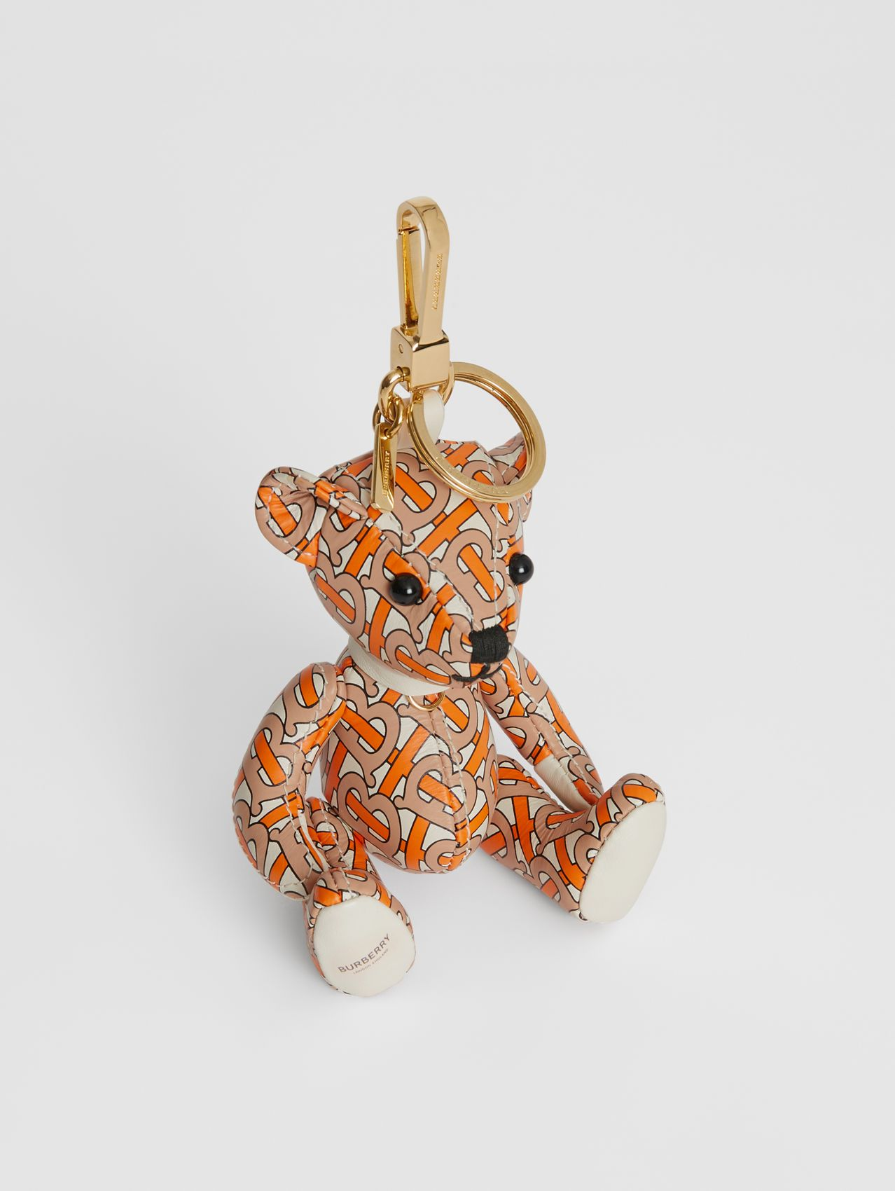 Thomas Bear Charm in Monogram Print Leather in Vermilion