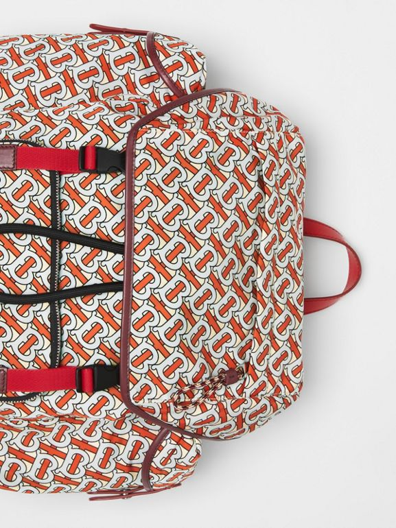 Medium Leather Trim Monogram Print Backpack in Vermilion - Men | Burberry United Kingdom - cell image 1